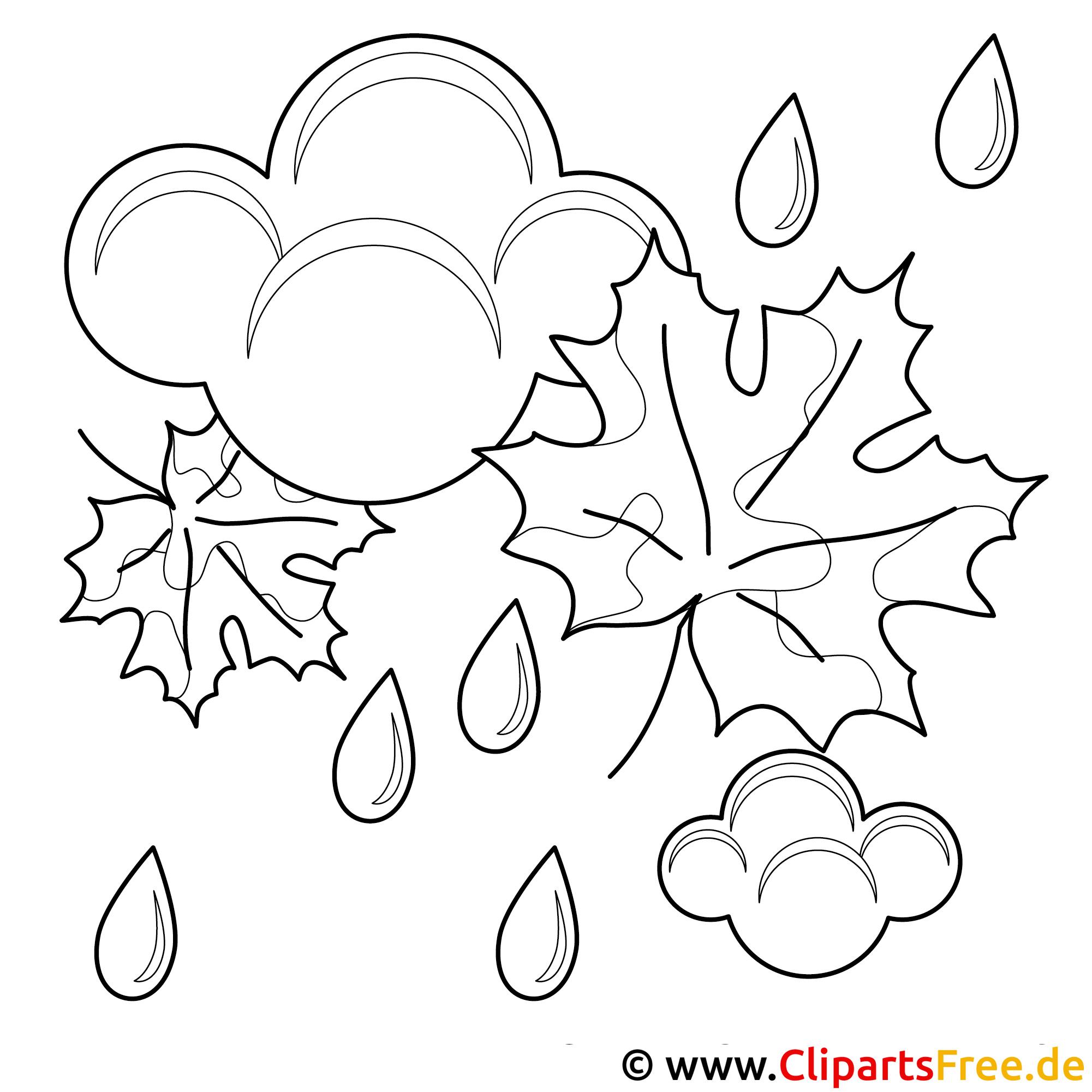 Regen Bild - Vorlage zum Malen Herbst