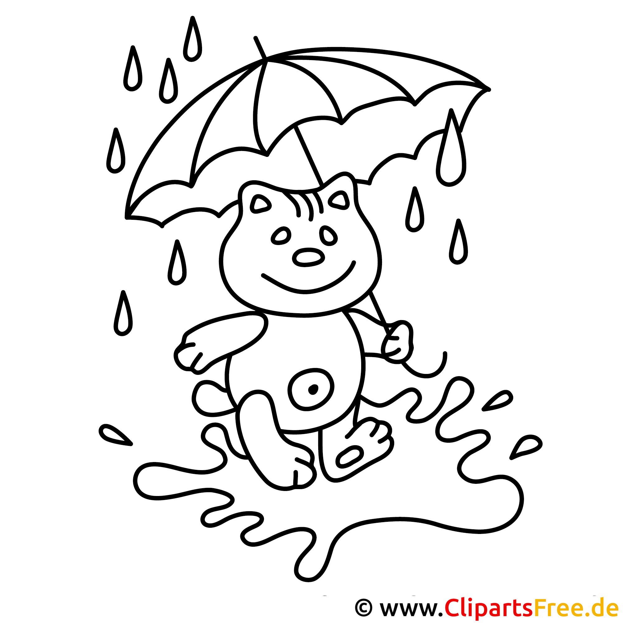teddy unter dem regenschirm  kostenlose herbst malvorlage