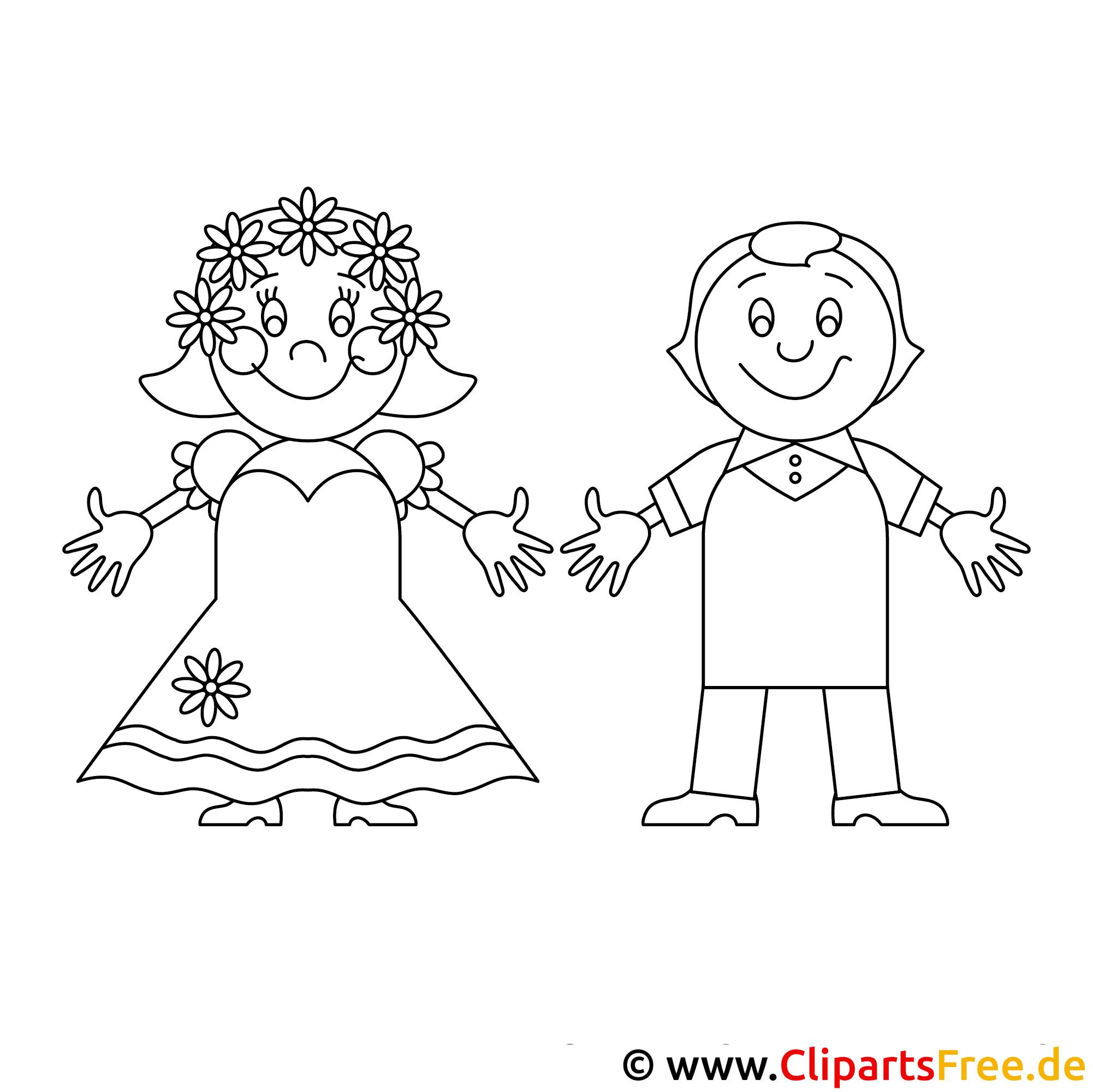 Brautpaar Bild zum Ausmalen