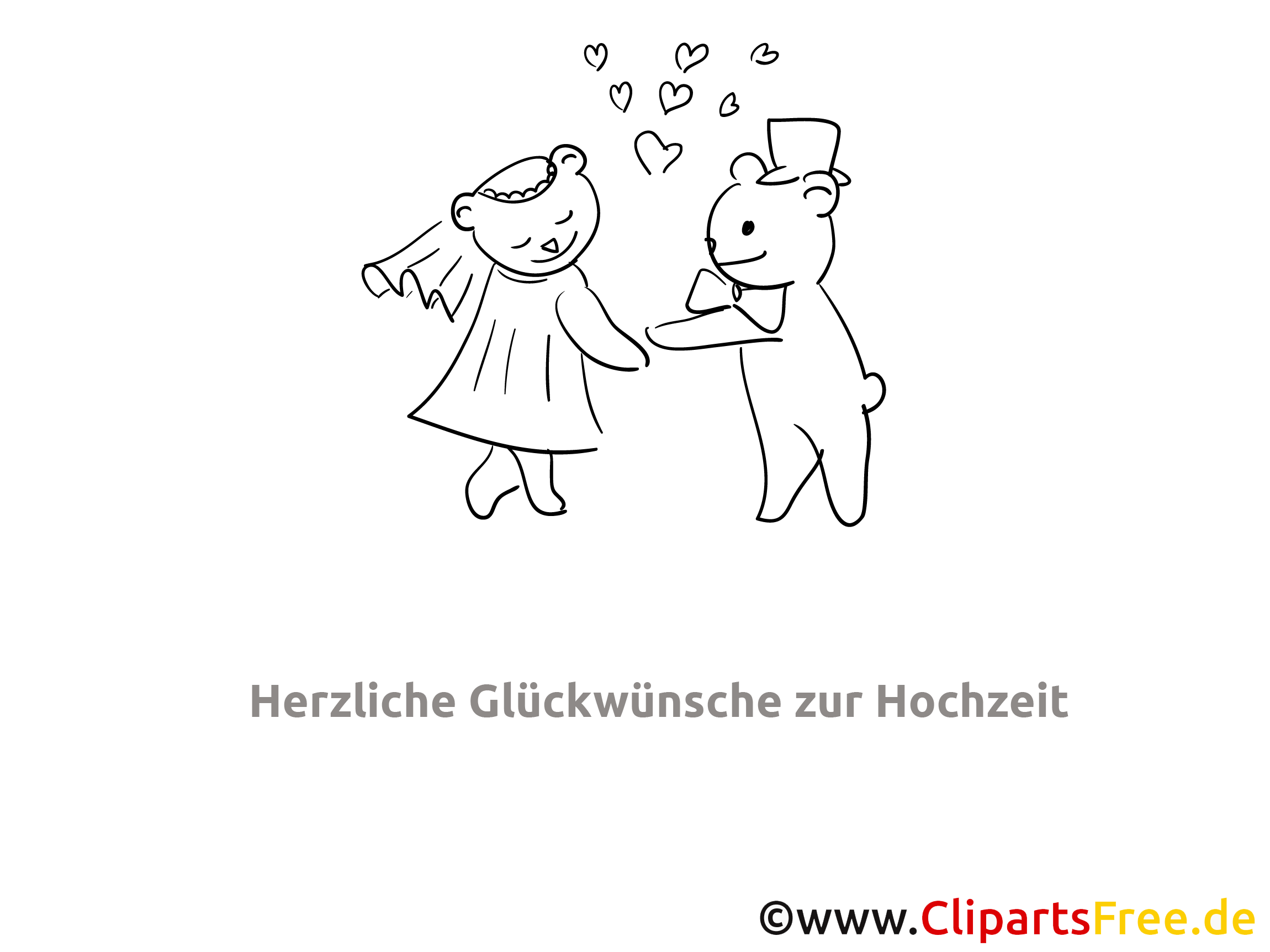 Glückwünsche zur Hochzeit Ausmalbild gratis