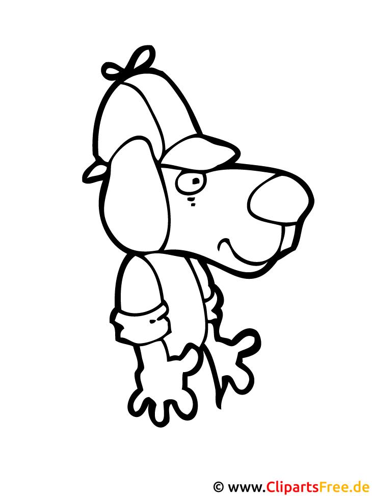 Hund Ausmalbild kostenlos herunterladen