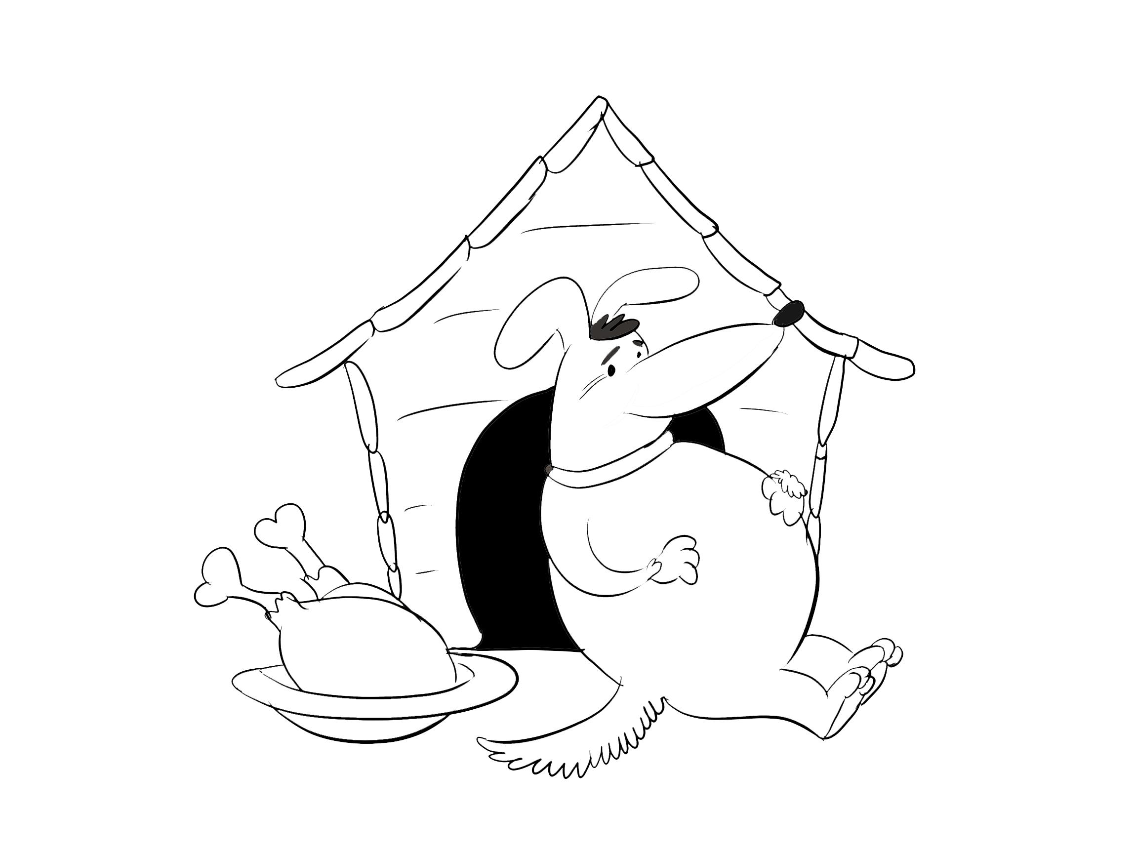 Hundehütte Ausmalbild zum Ausdrucken und Ausmalen kostenlos