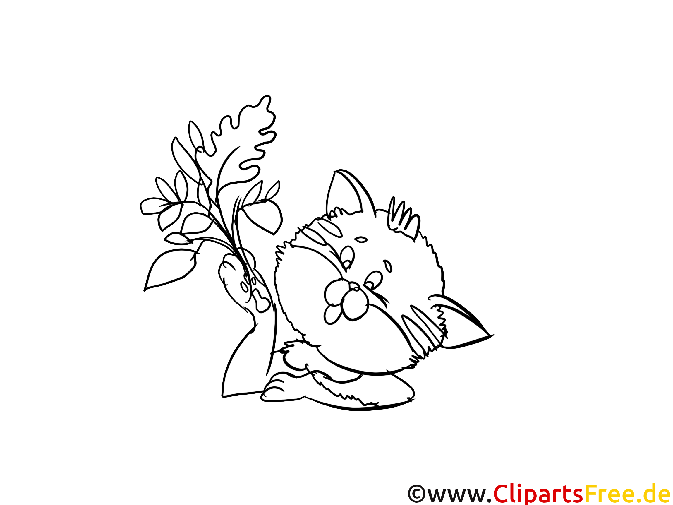 Cartoon Katze Ausmalbild - Kostenlose Ausmalbilder Herbst
