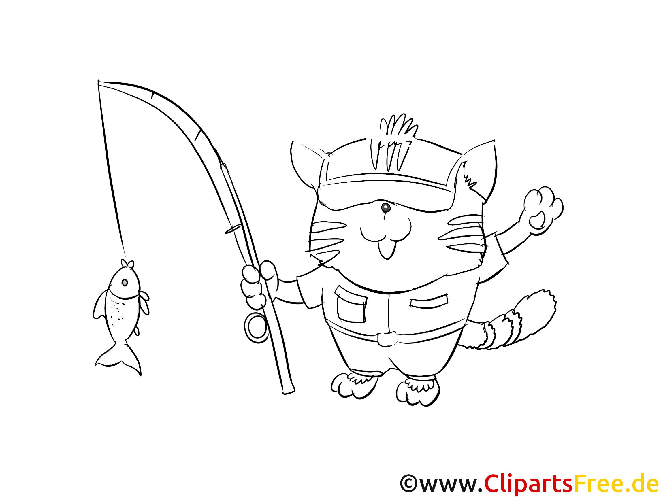 Katze geht Angeln Ausmalbild zum Drucken und Ausmalen