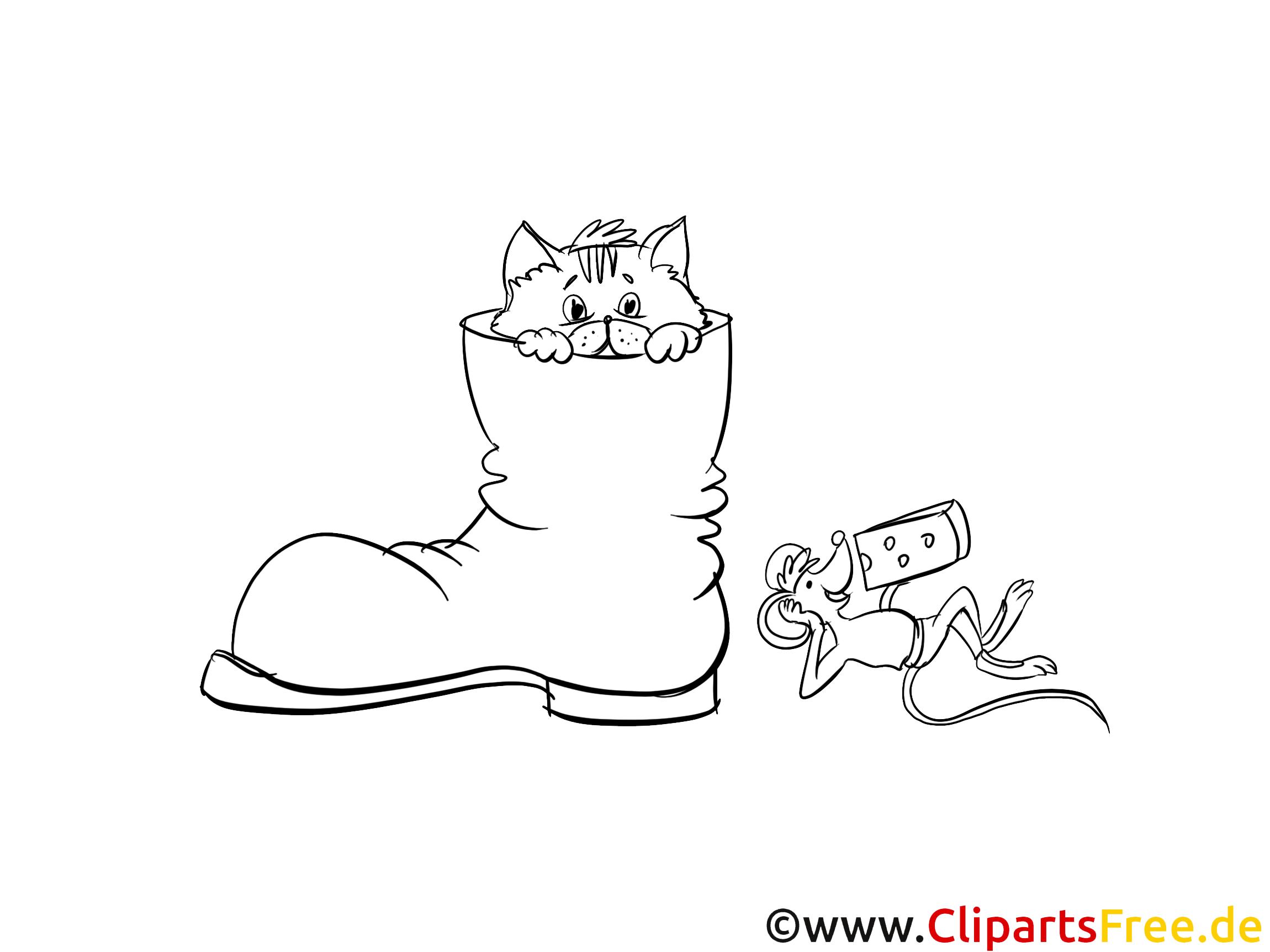 Katze im Schuh Ausmalbild zum Drucken und Ausmalen