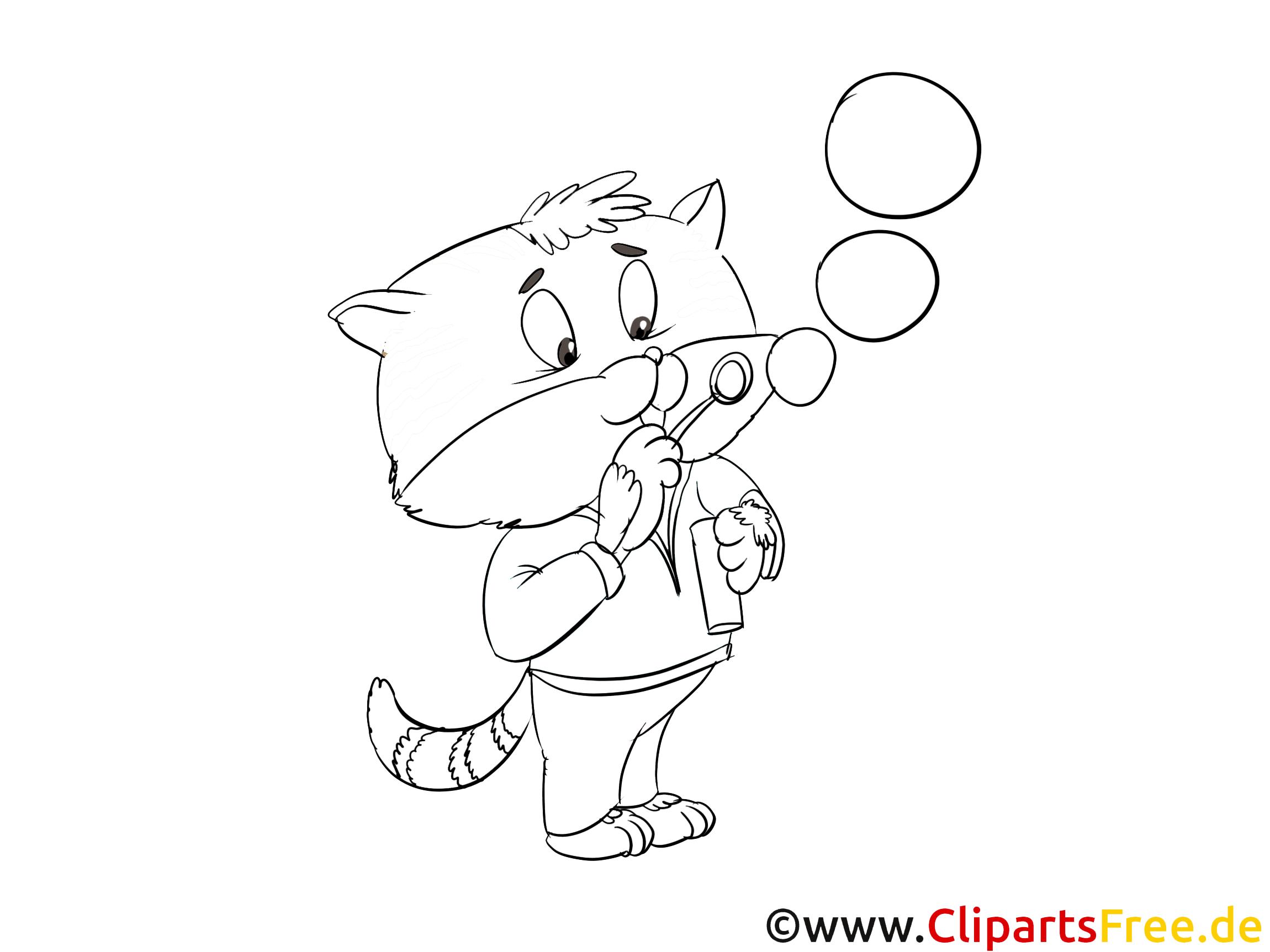 Katze mit Seifenblasen Ausmalbild zum Drucken und Ausmalen