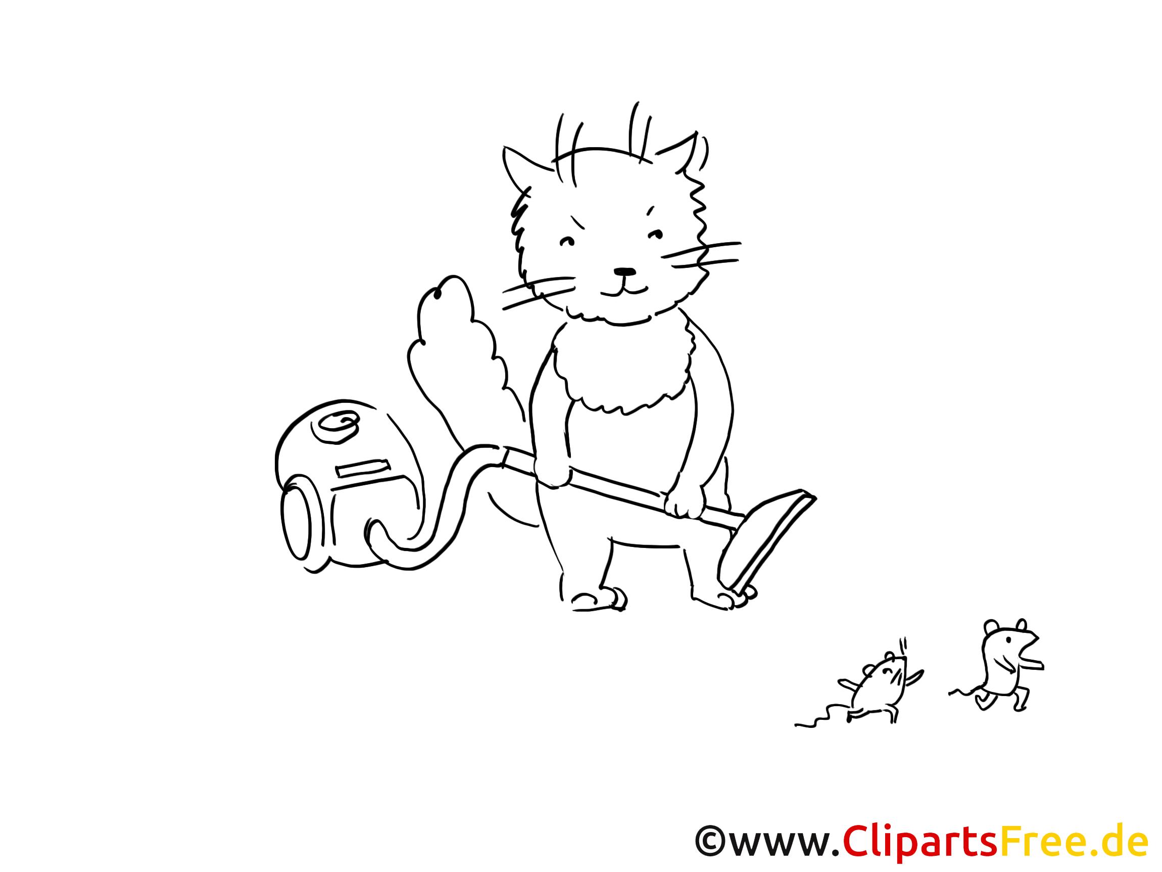 Katze mit Staubsauger Grafik, Bild, Malvorlage zum Ausdrucken und Ausmalen