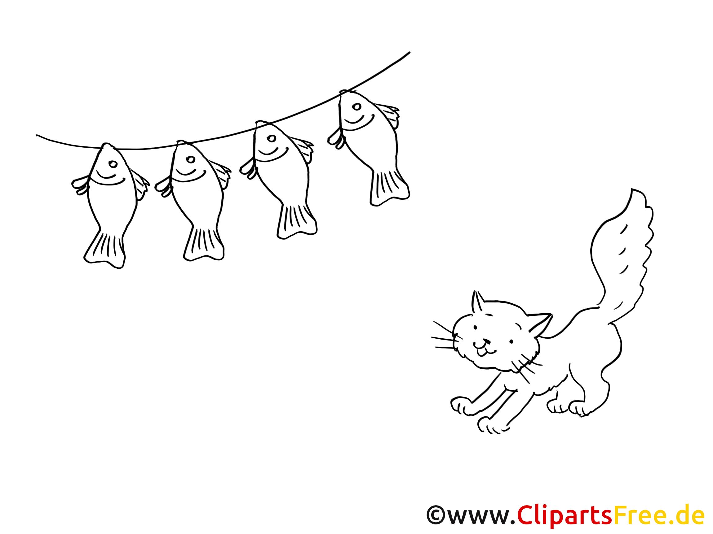 Katze und Fische Grafik, Bild, Malvorlage zum Ausdrucken und Ausmalen
