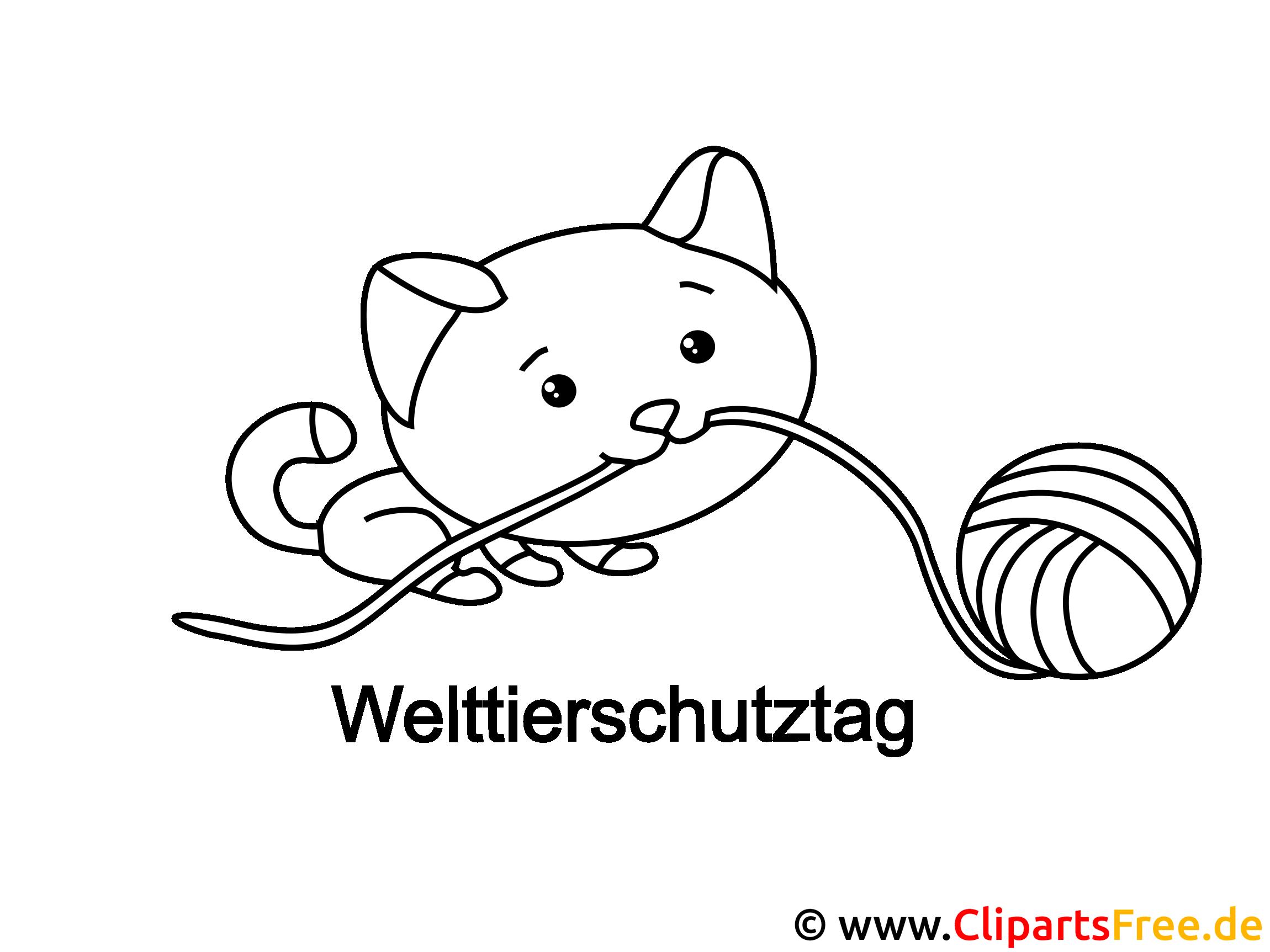 Katze und Knäuel Ausmalbild zum Drucken und Ausmalen