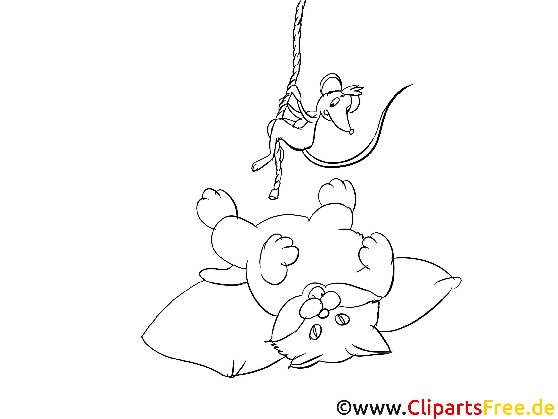 Katze und Maus Bild zum Ausmalen