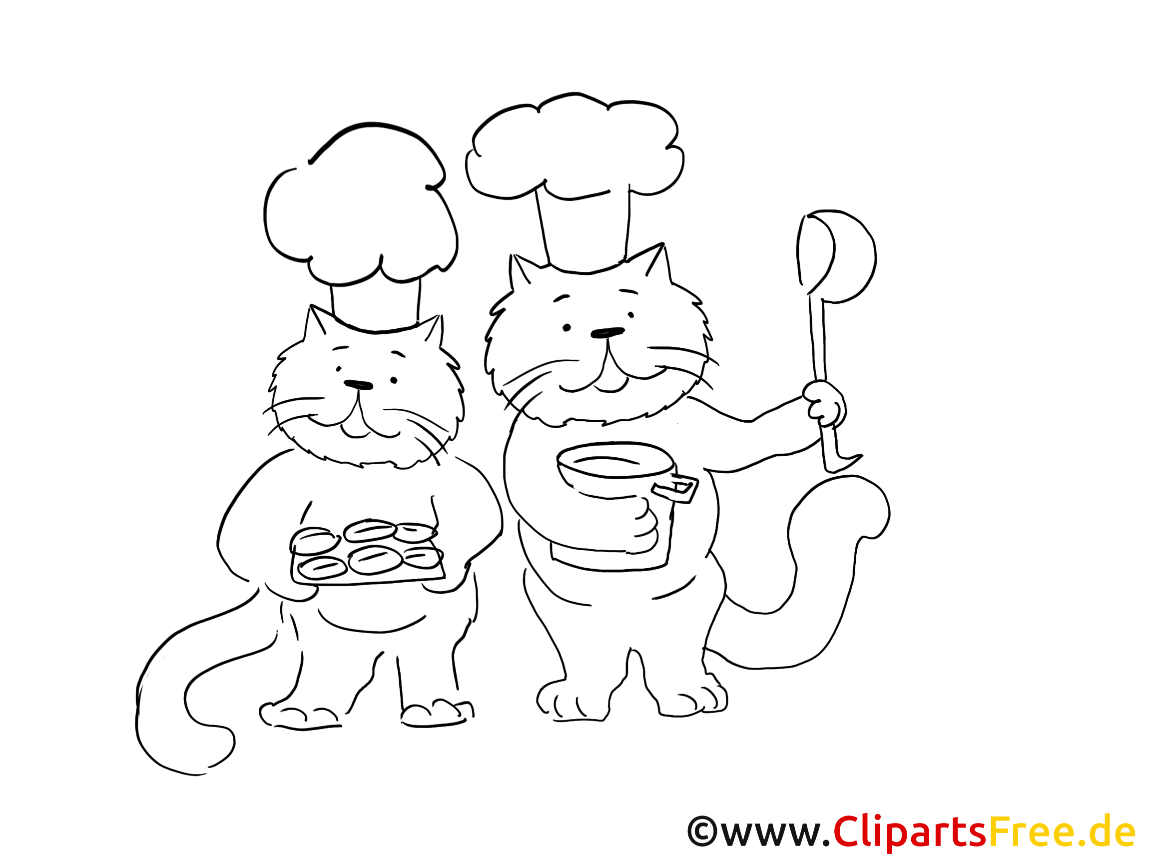 Katzen in der Küche Grafik, Bild, Malvorlage zum Ausdrucken