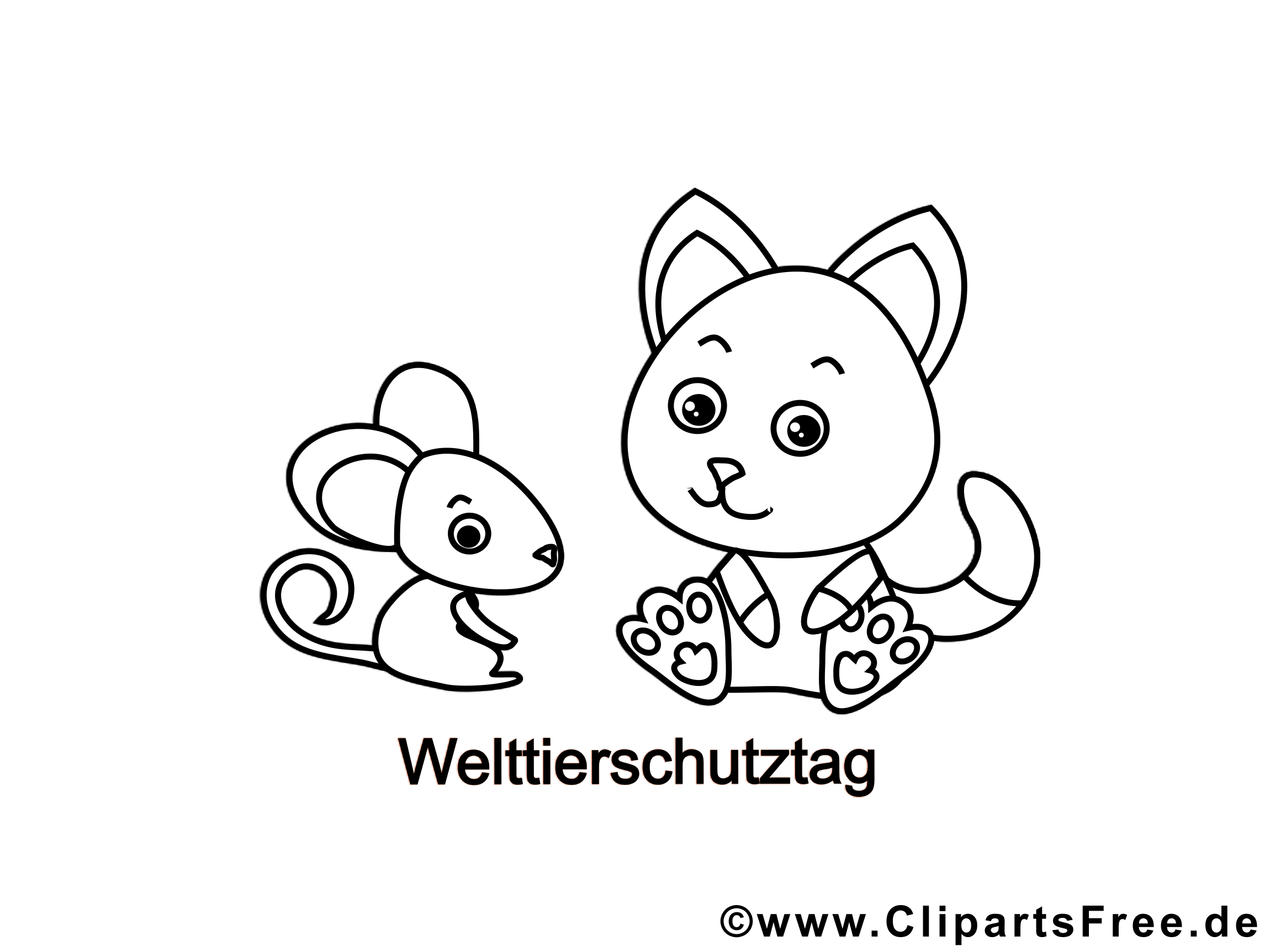 Mouse and Cat Colouring Page