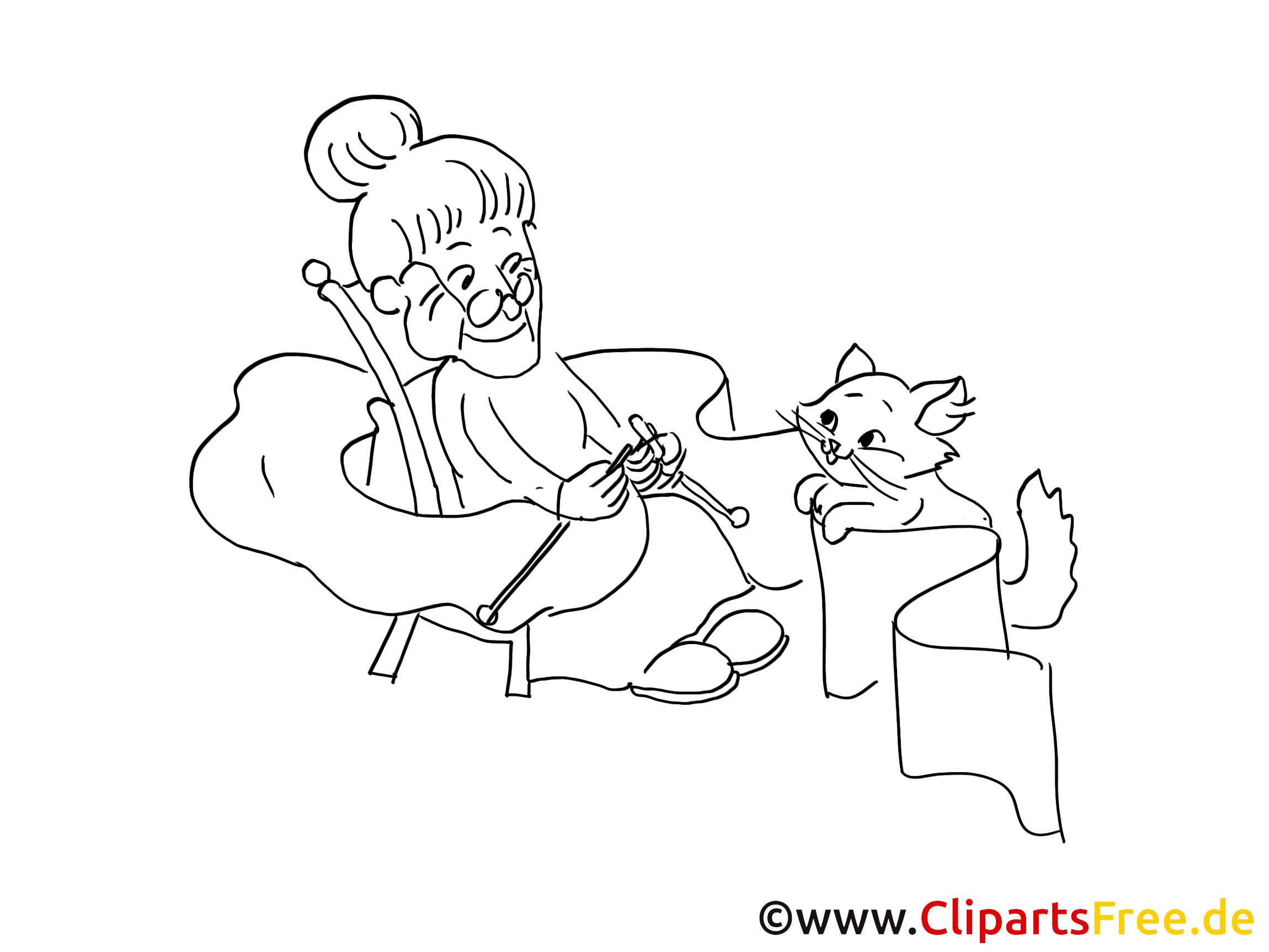 Oma mit Katze Grafik, Bild, Malvorlage zum Ausdrucken