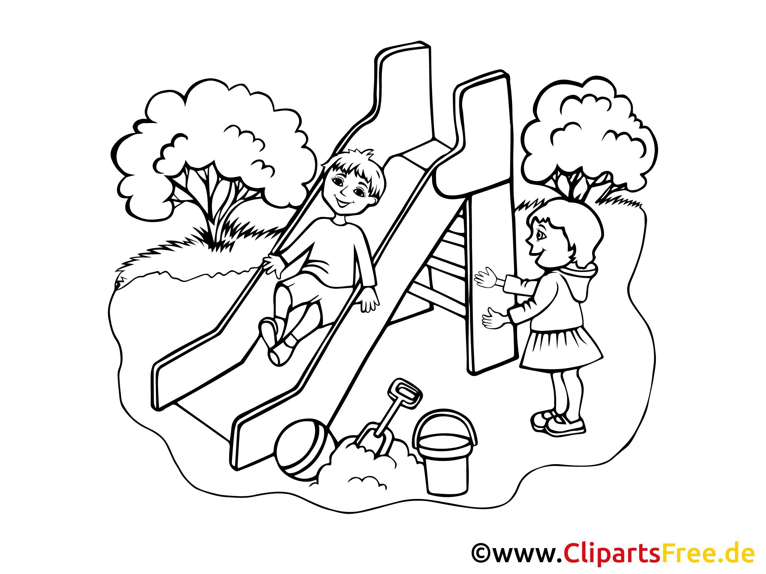 Spielplatz Bild, Clipart, Illustration schwarz-weiß zum Ausmalen