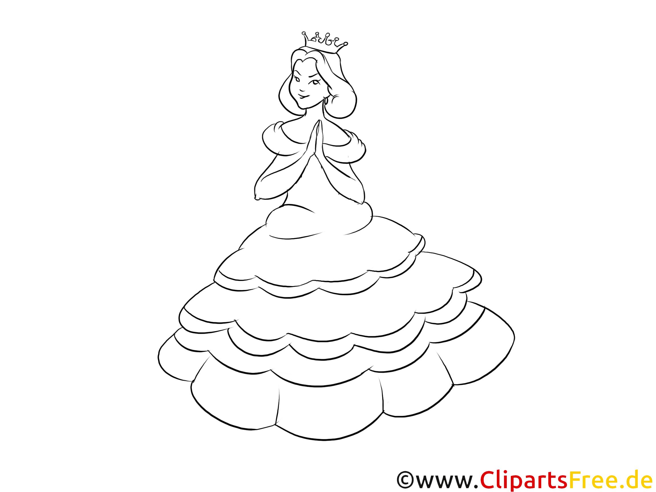 Ausmalbild Prinzessin ohne Einhorn