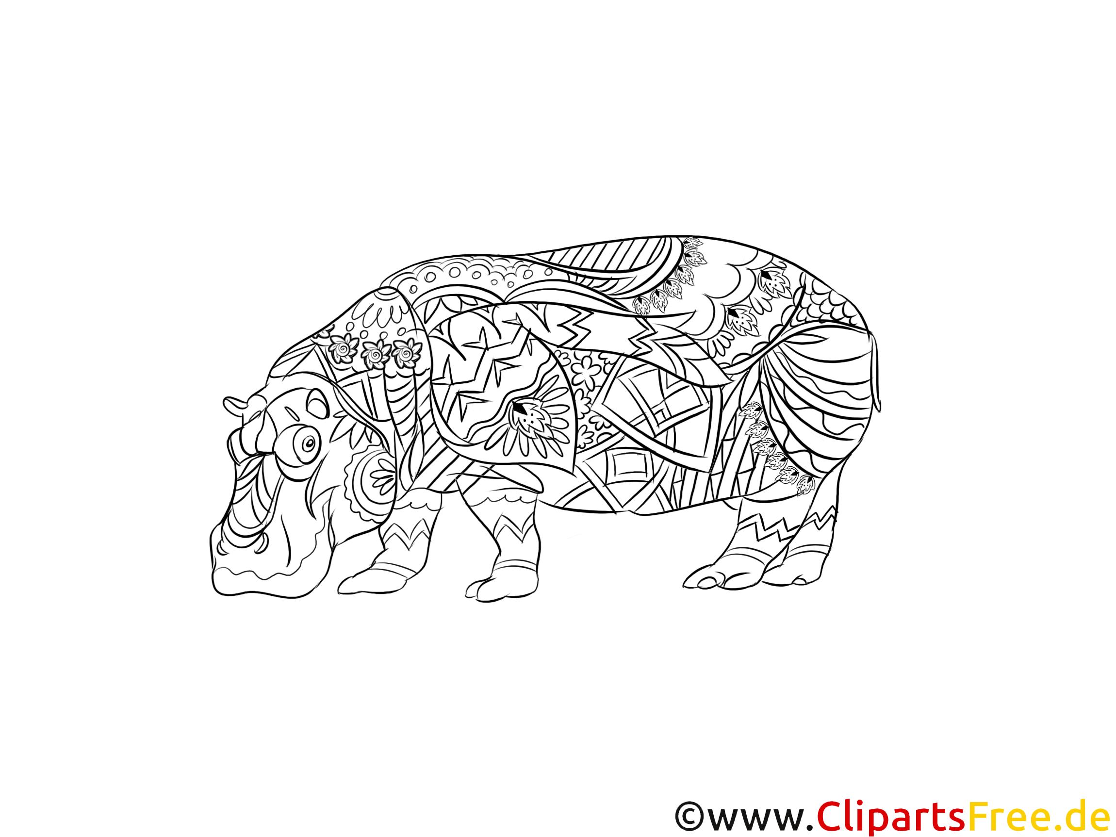 ausmalbild für erwachsene tiere nilpferd zum ausdrucken
