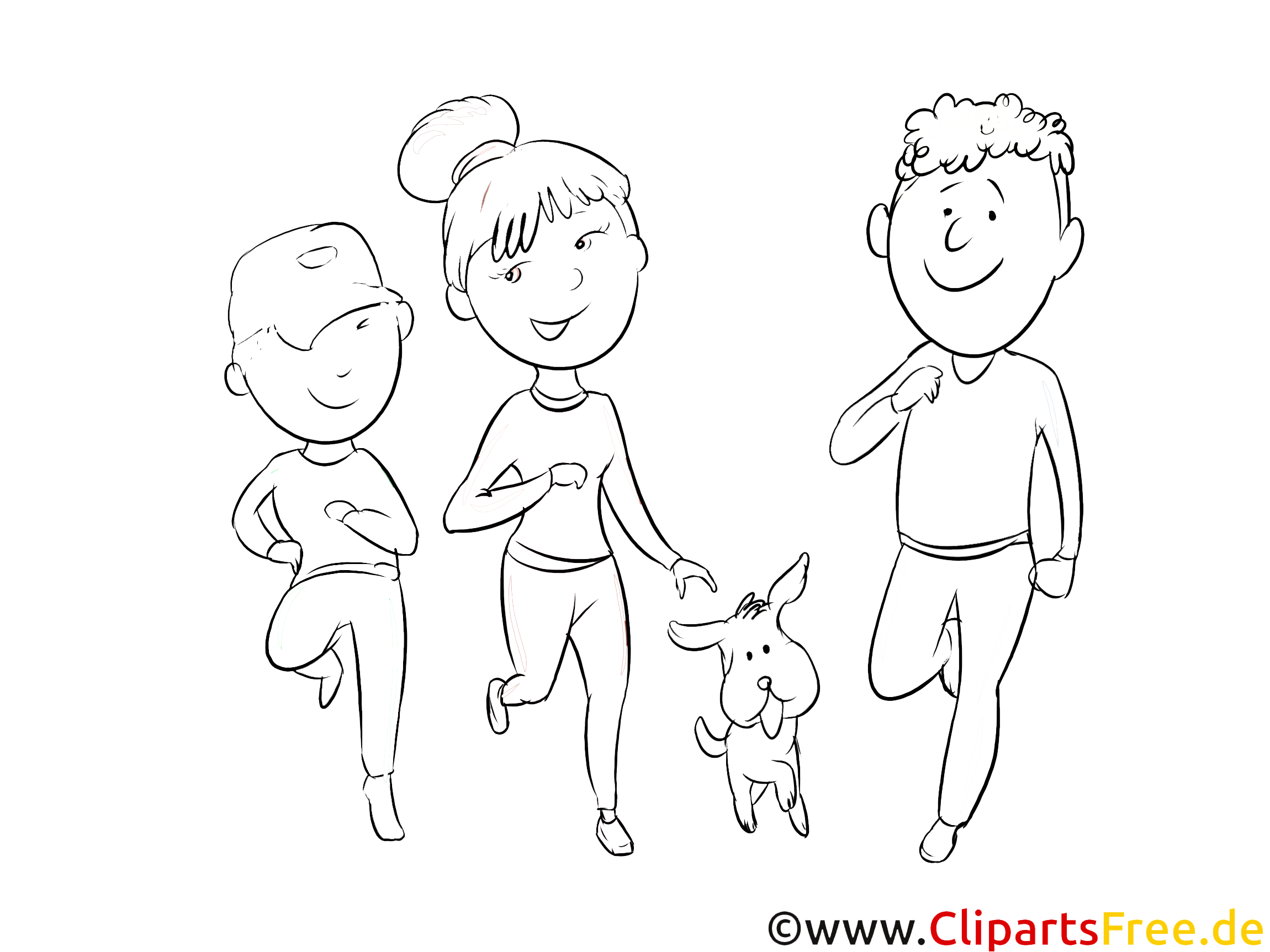 familie mit hund spazieren zeichnung schwarzweiß malvorlage