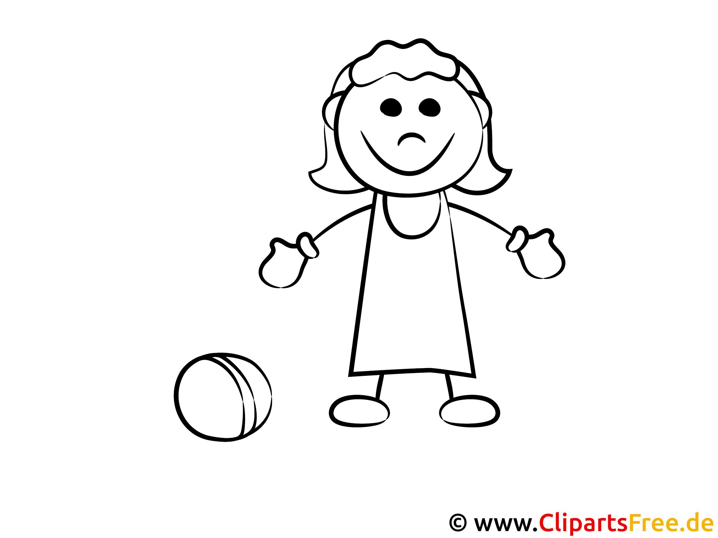 mädchen spielt mit dem ball ausmalbild
