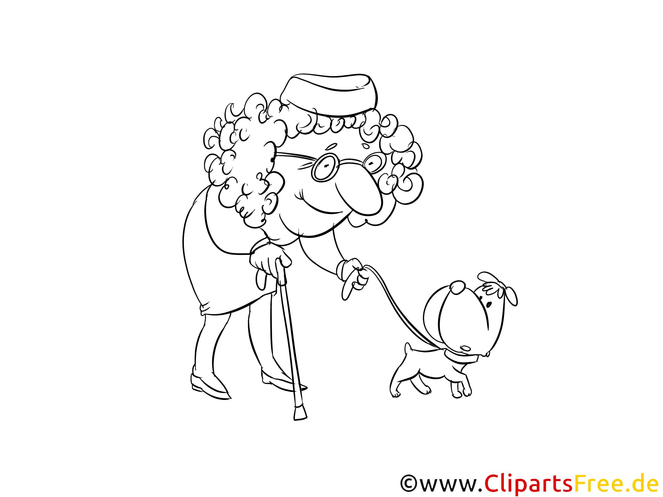 Oma mit Hund Ausmalbild