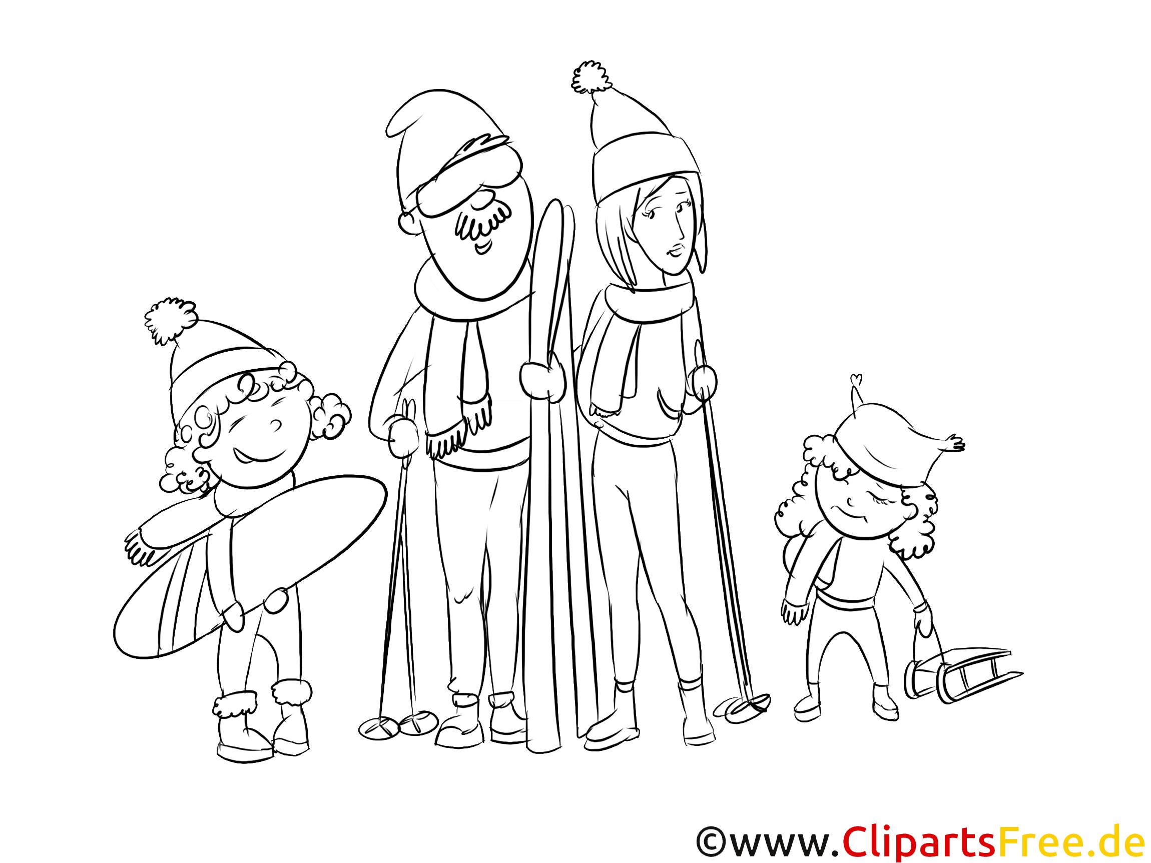 urlaub mit familie illustration schwarzweiß zum drucken