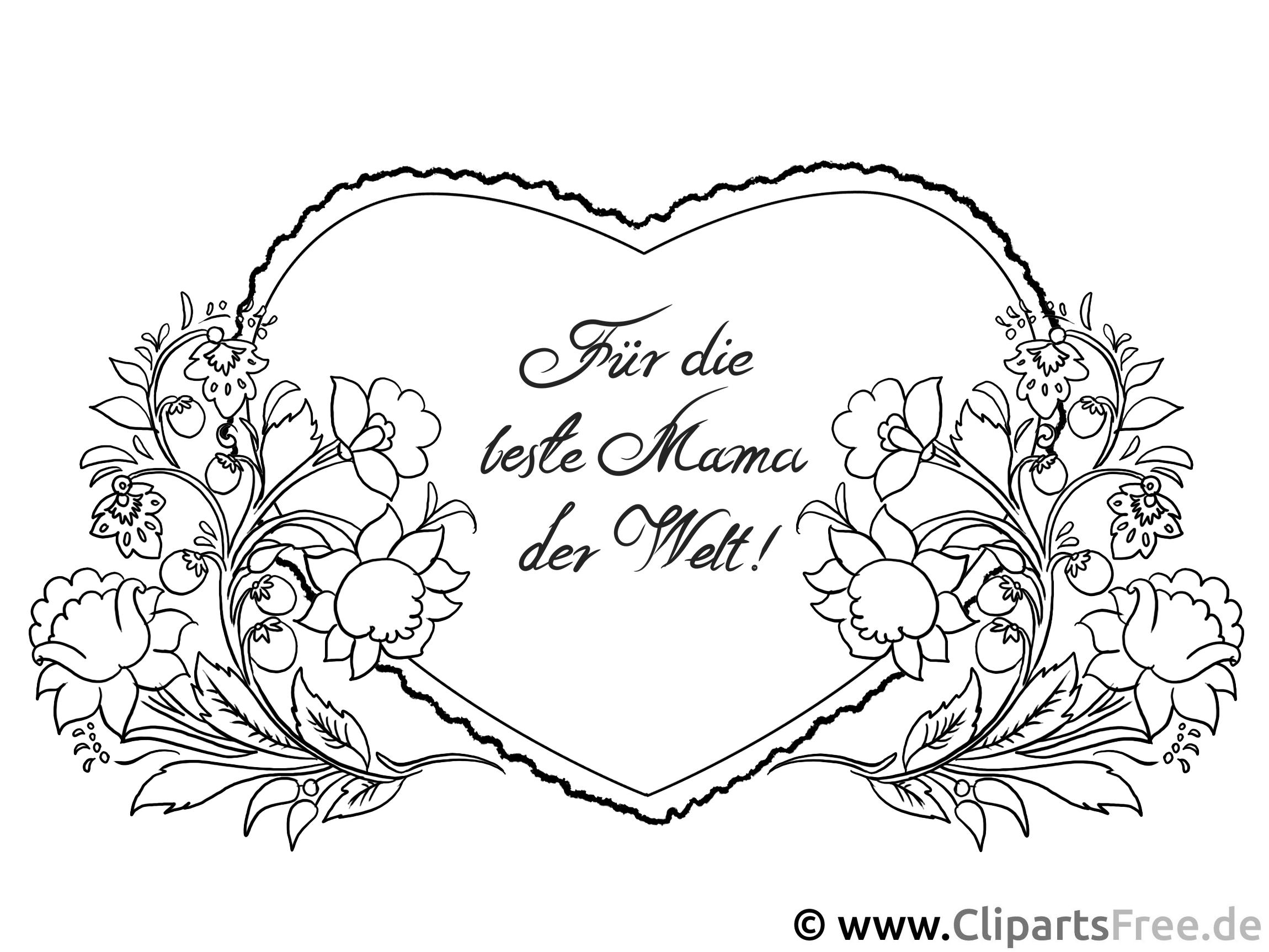 Blumenranken Herz für Mutter - Ausmalbilder zum Muttertag