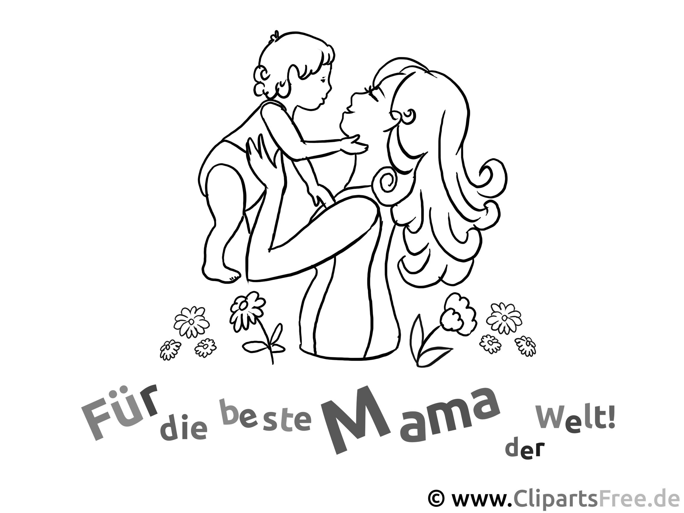 Mutter mit Kind - Ausmalbilder zum Muttertag