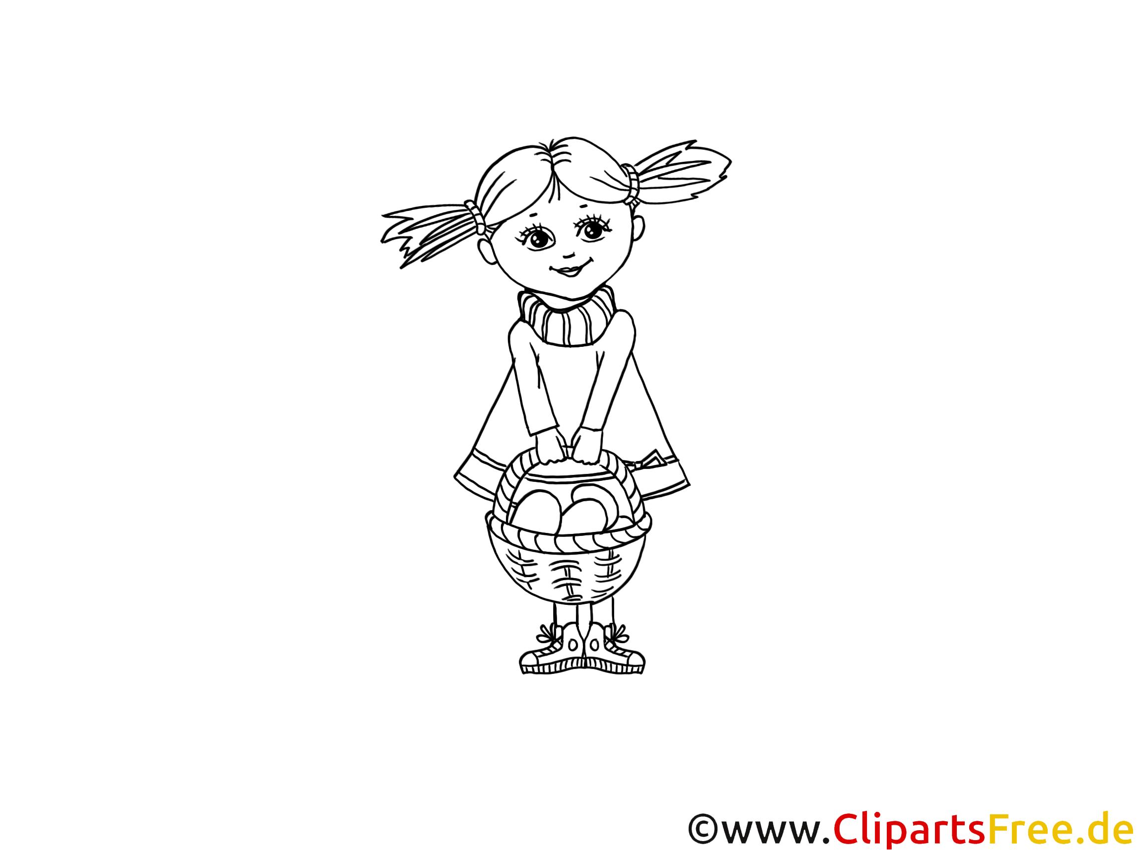 Ostern Ausmalbild PDF Mädchen mit Korb
