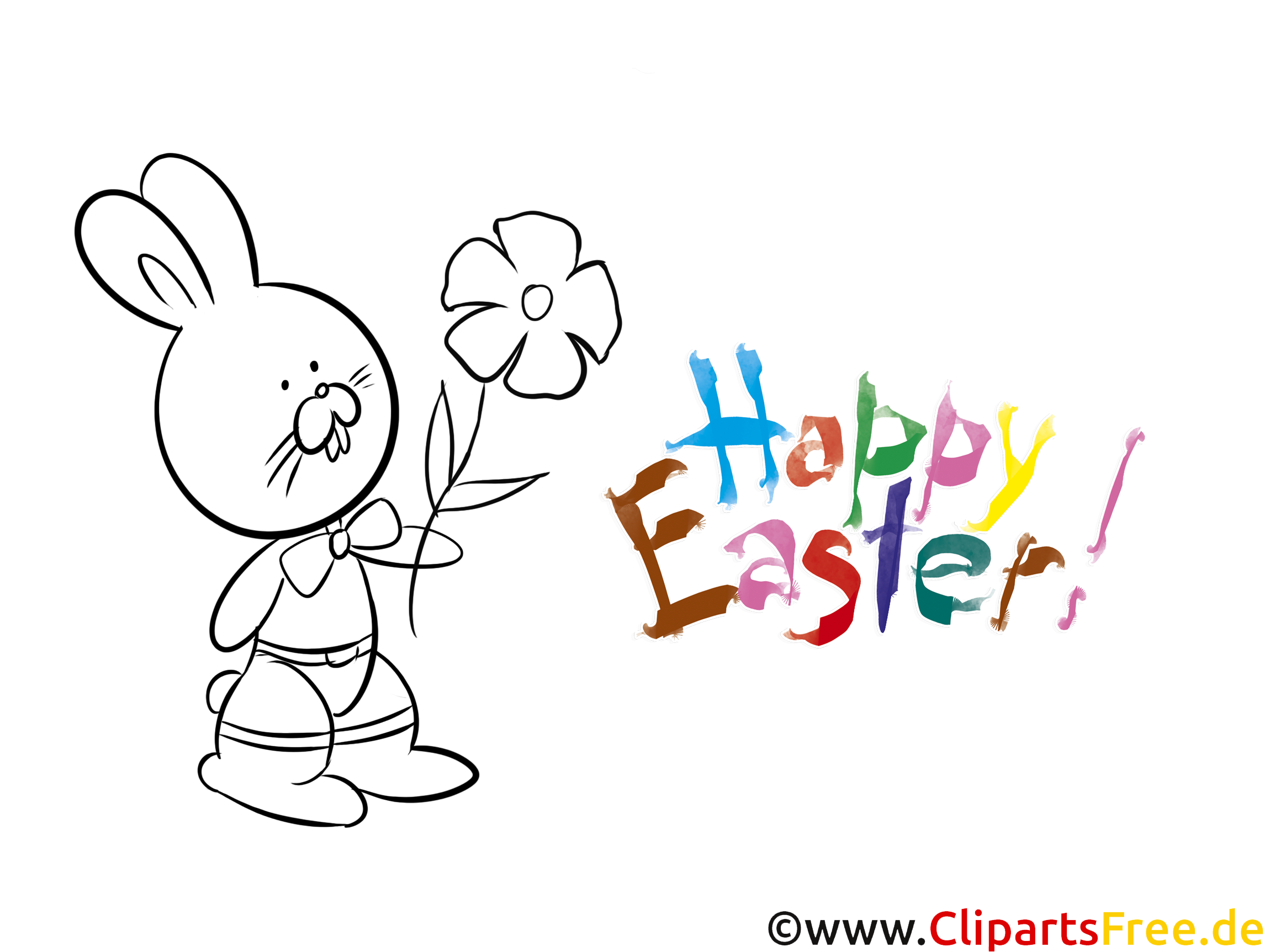 Blume Kaninchen Kostenlose Ausmalbilder zum Thema Ostern