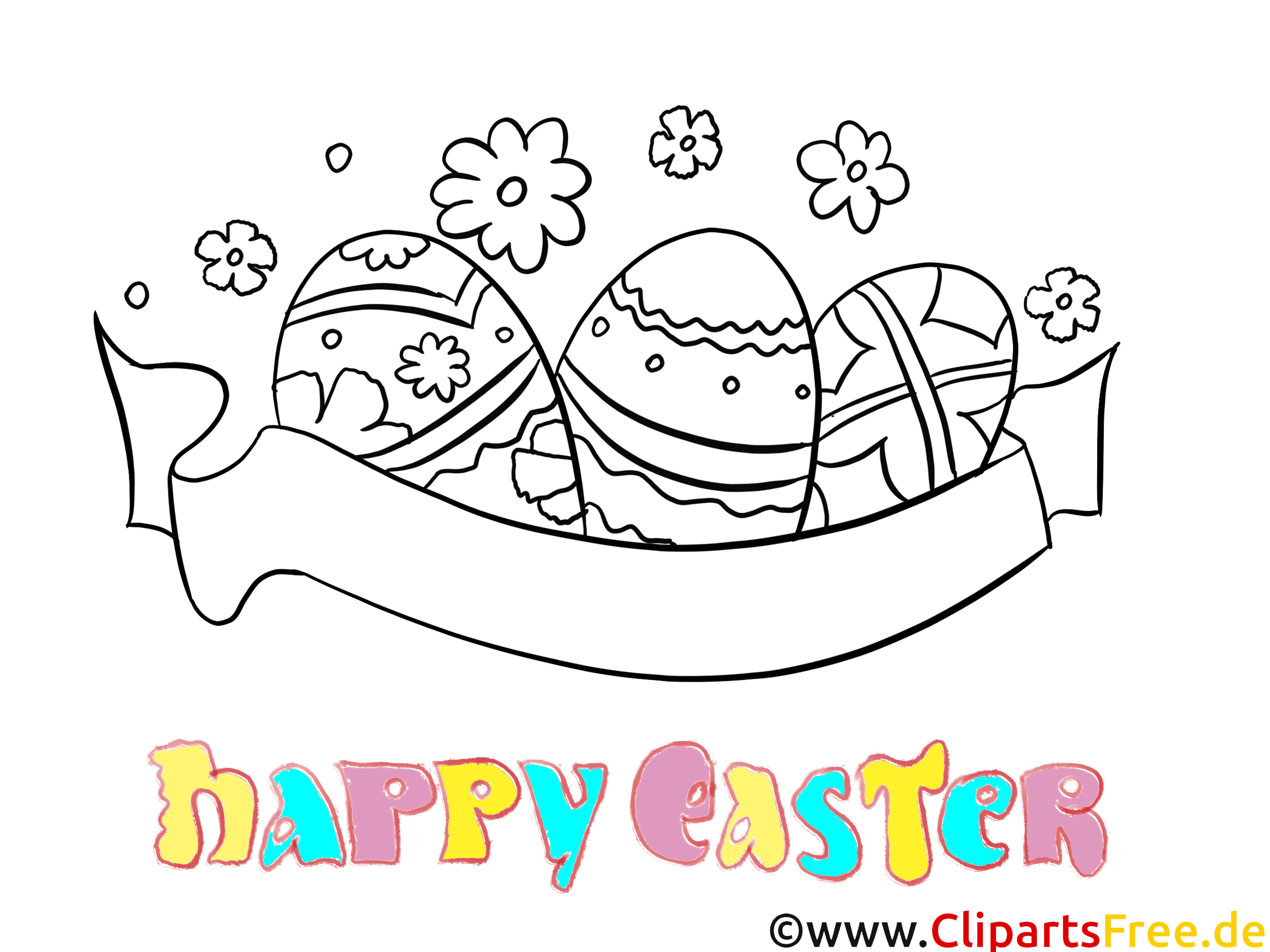 Colouring Happy Easter download and print free