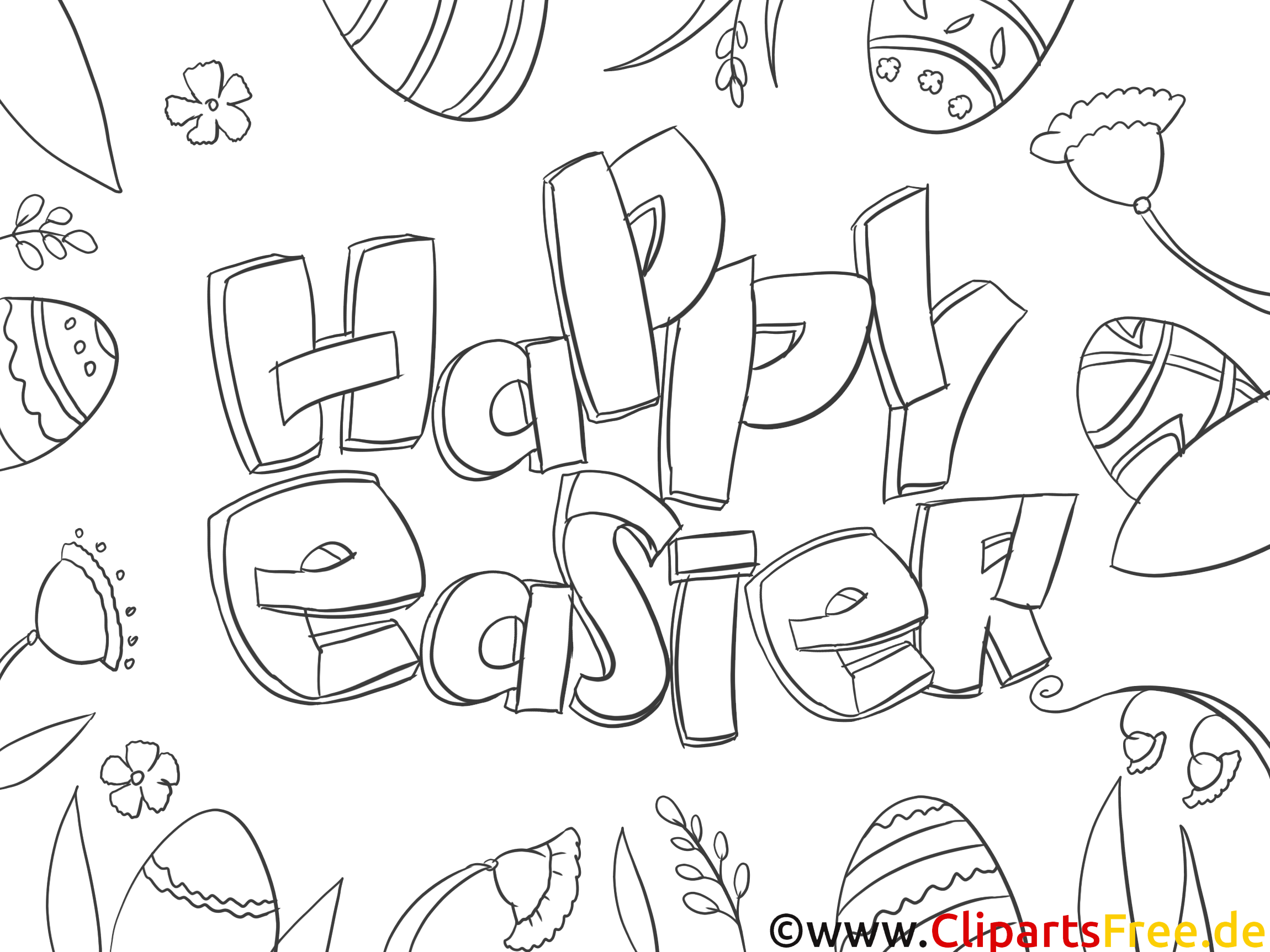 Colouring Sheet Happy Easter download and print