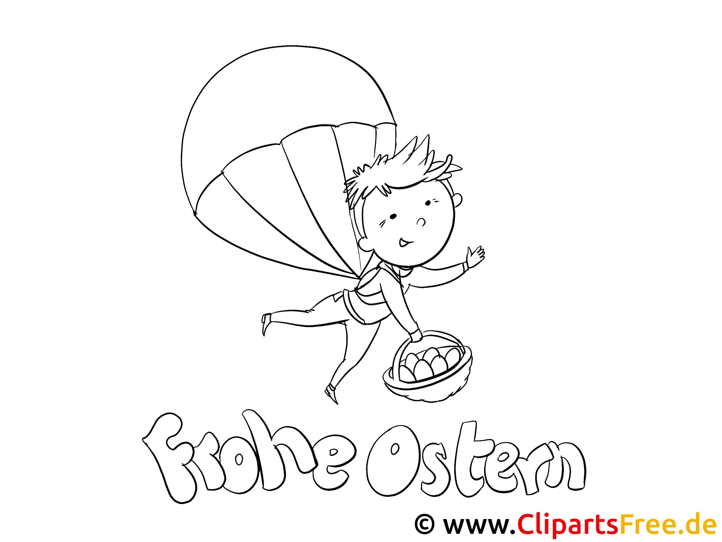 Fallschirm springen Malvorlage PDF kostenlos zu Ostern