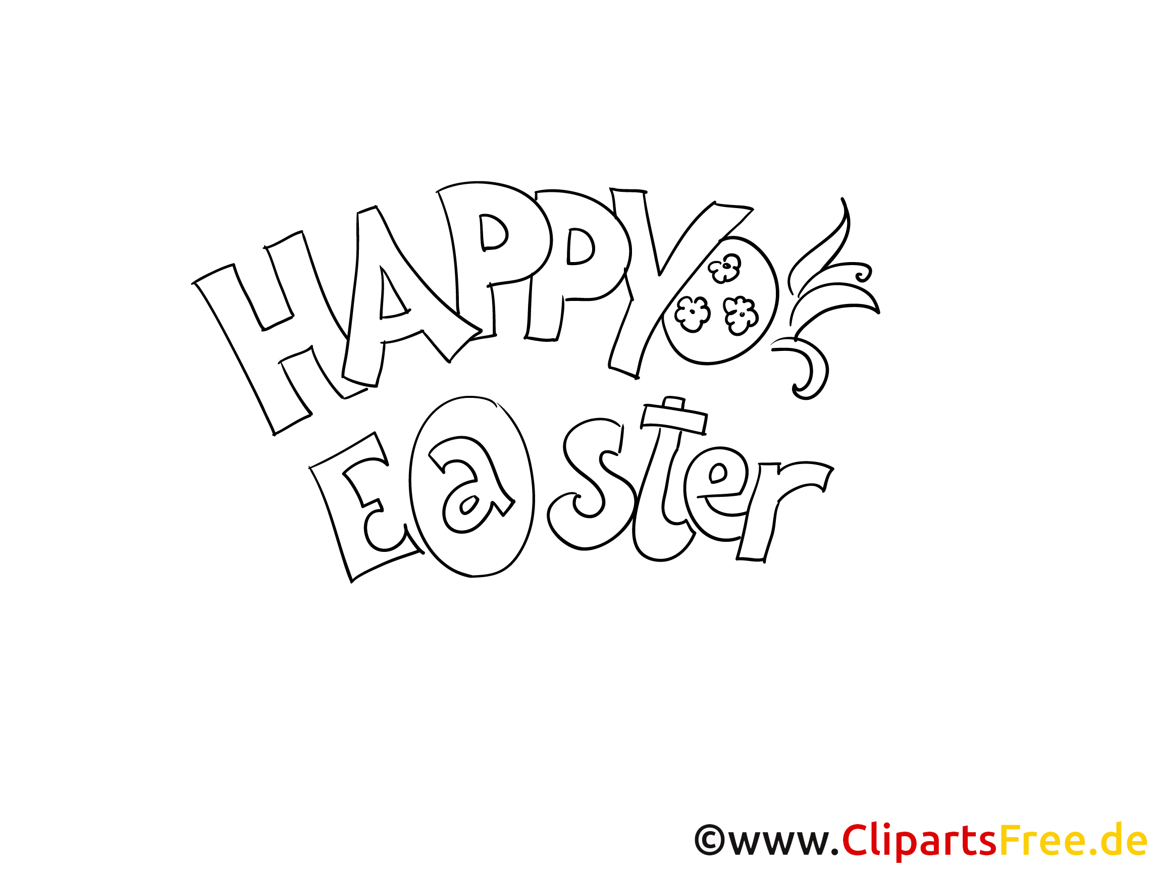 Happy Easter printable Image to color