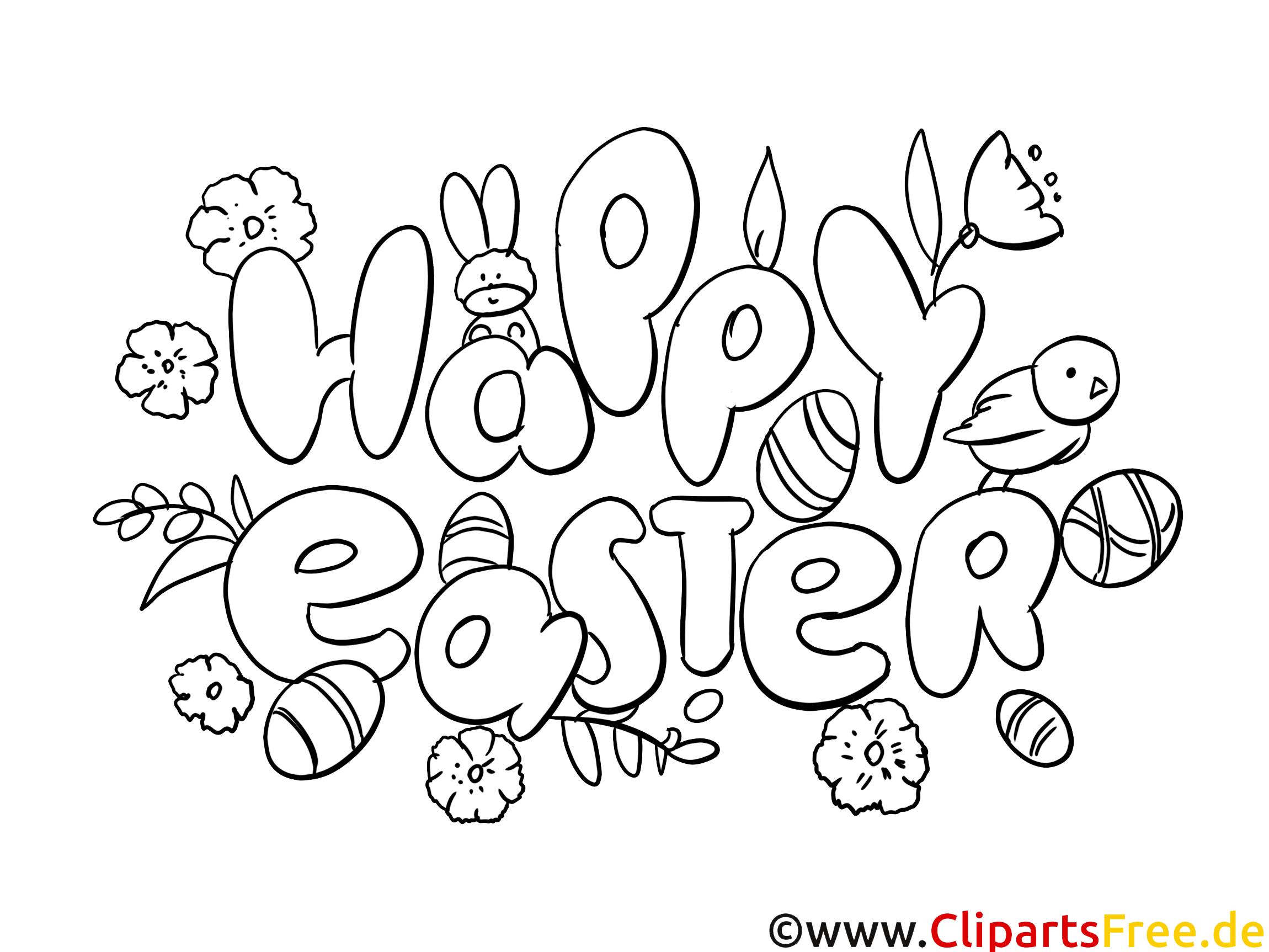Happy Eatser colouring page PDF