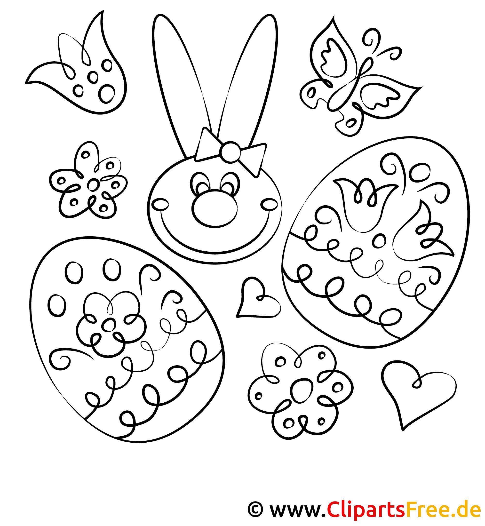 Kanninchen und Eier - Ausmalbild Ostern