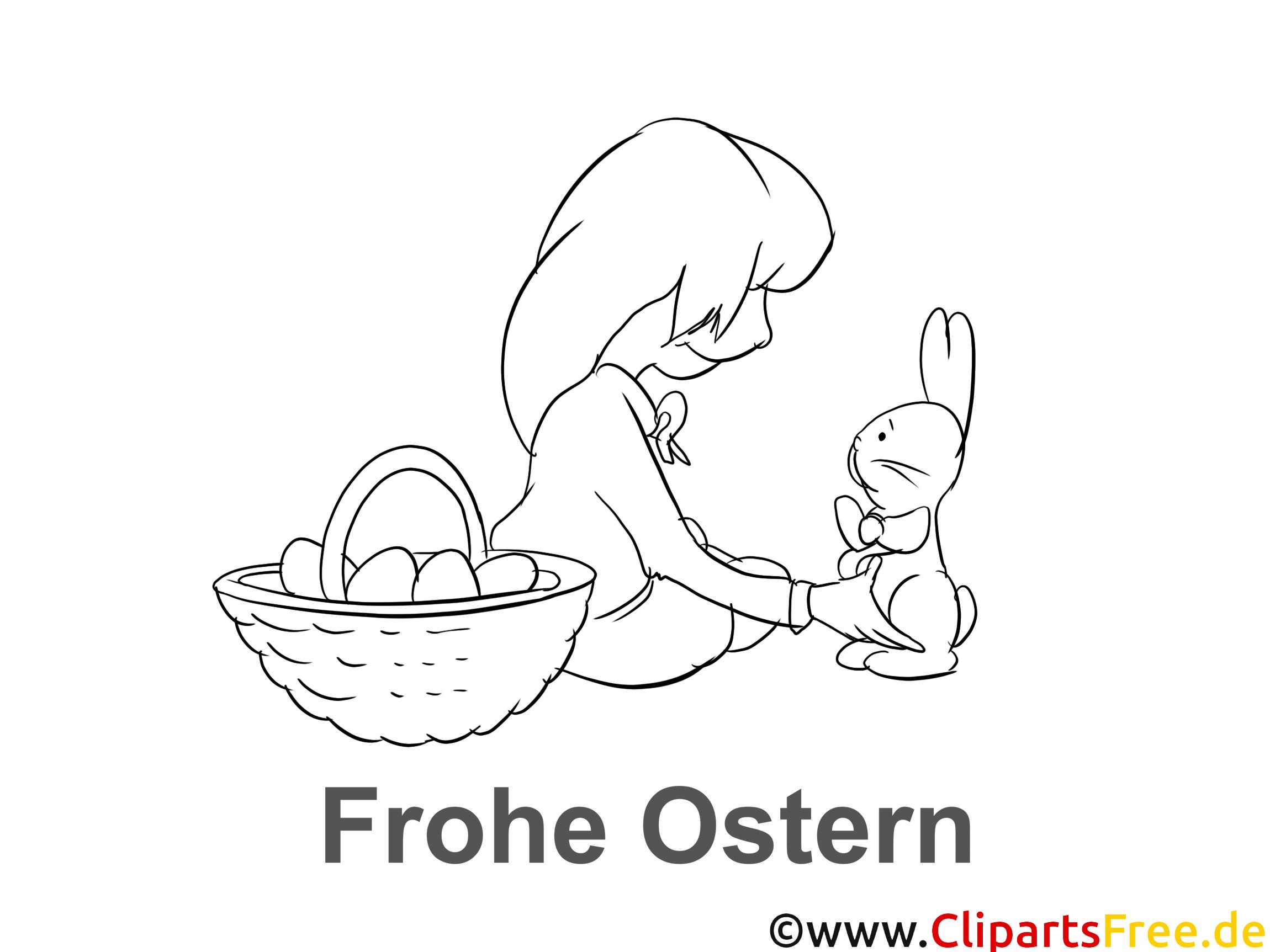 Malvorlage Hase und Mädchen zu Ostern