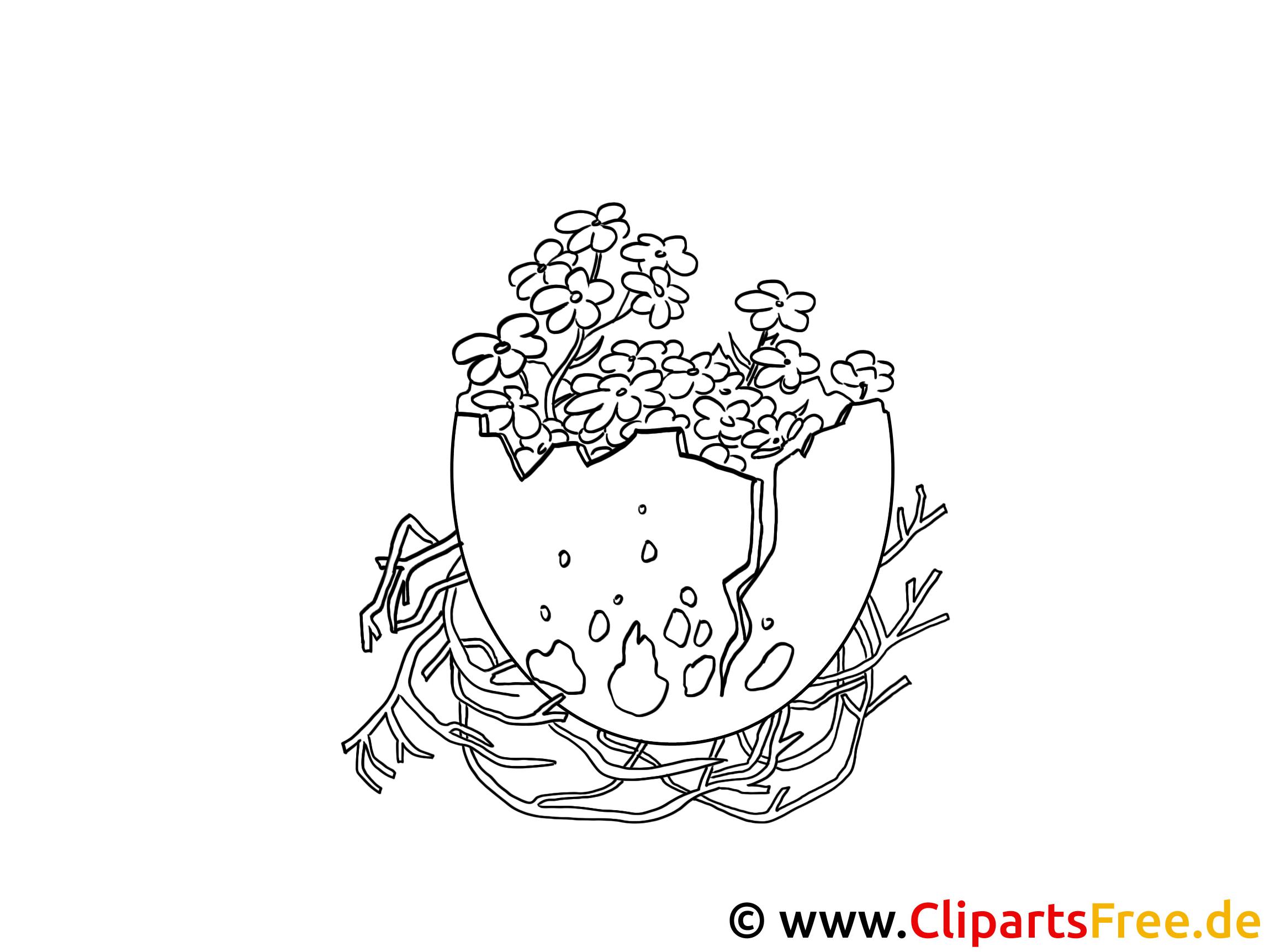 Osterei und Blumenstrauss Ausmalbild