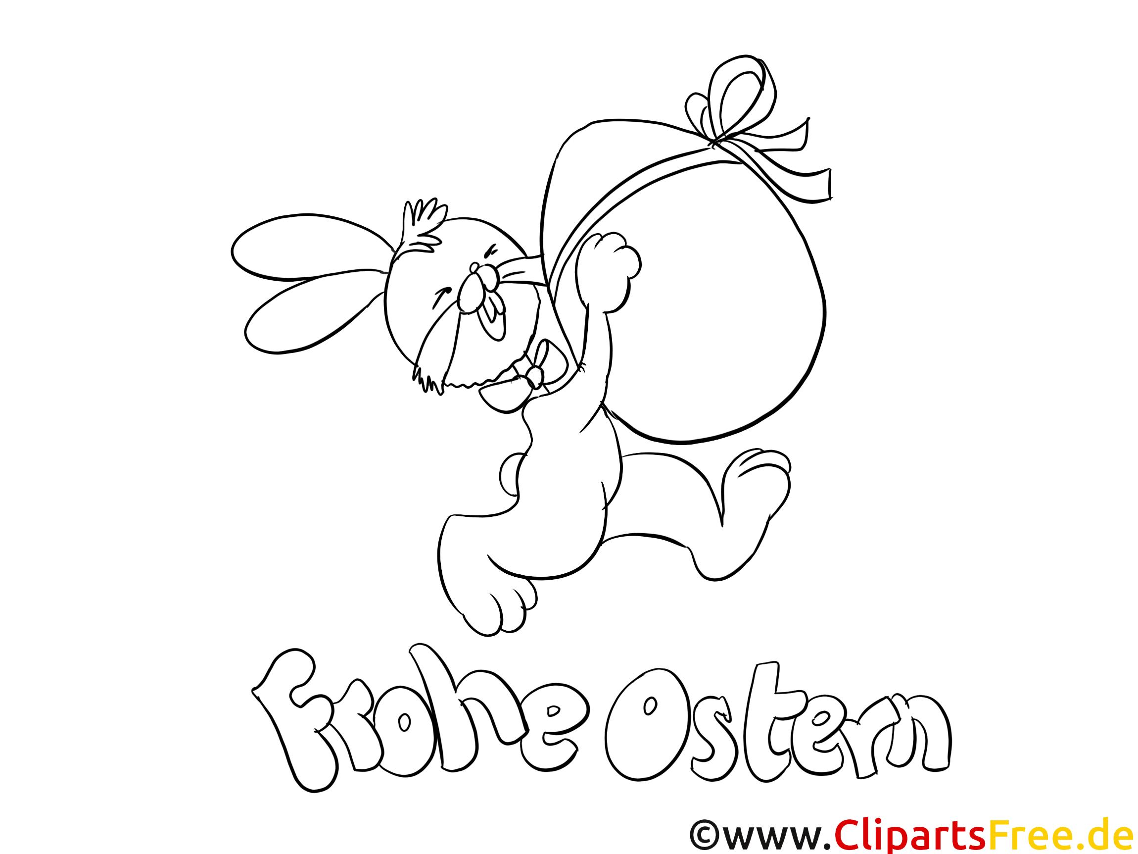 Osterhase und Osterei Ausmalbild gratis