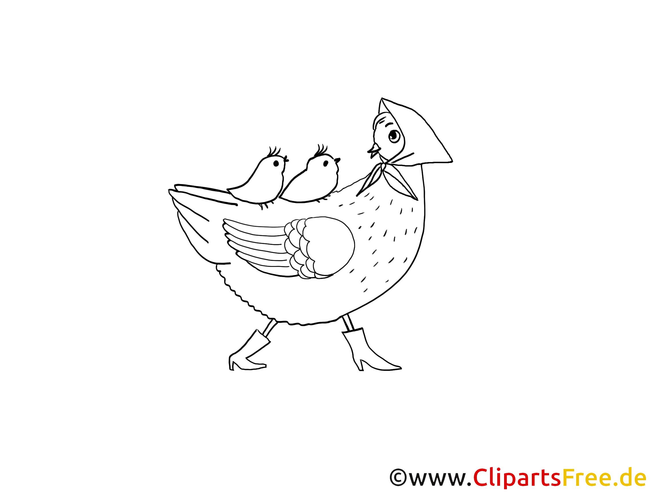 Ostermalvorlage Henne mit Küken