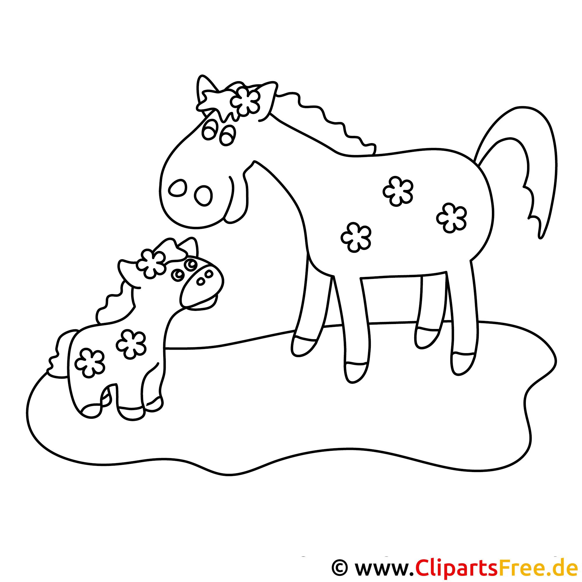 fohlen und pferd - pferde malvorlagen kostenlos