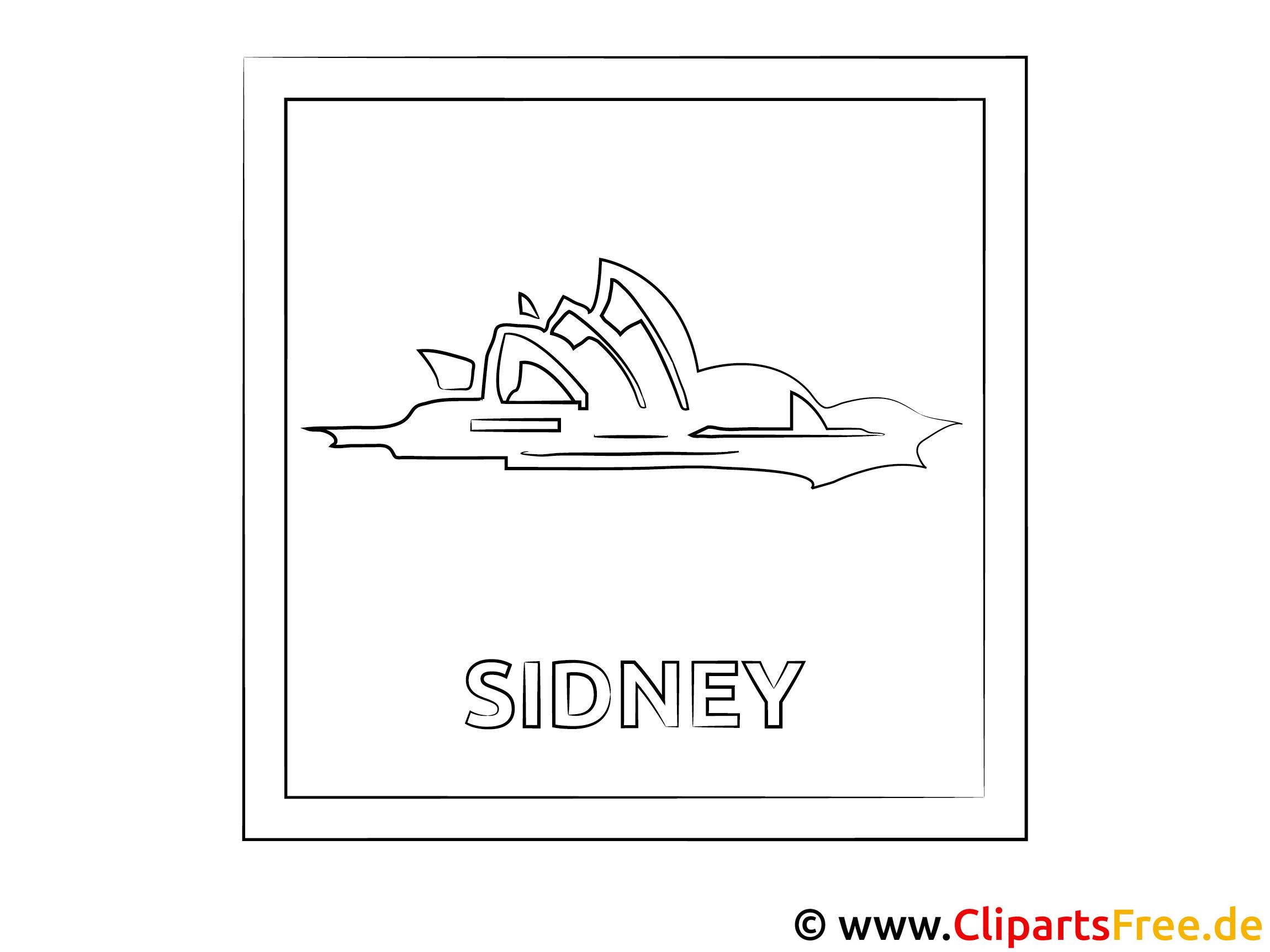 Australien Reisen Ausmalbild für Unterricht