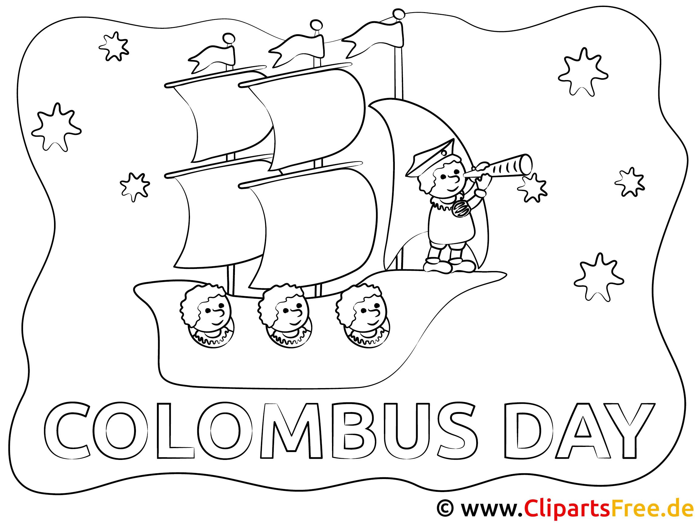Kolumbus-Tag Reisen Ausmalbild zum Ausdrucken