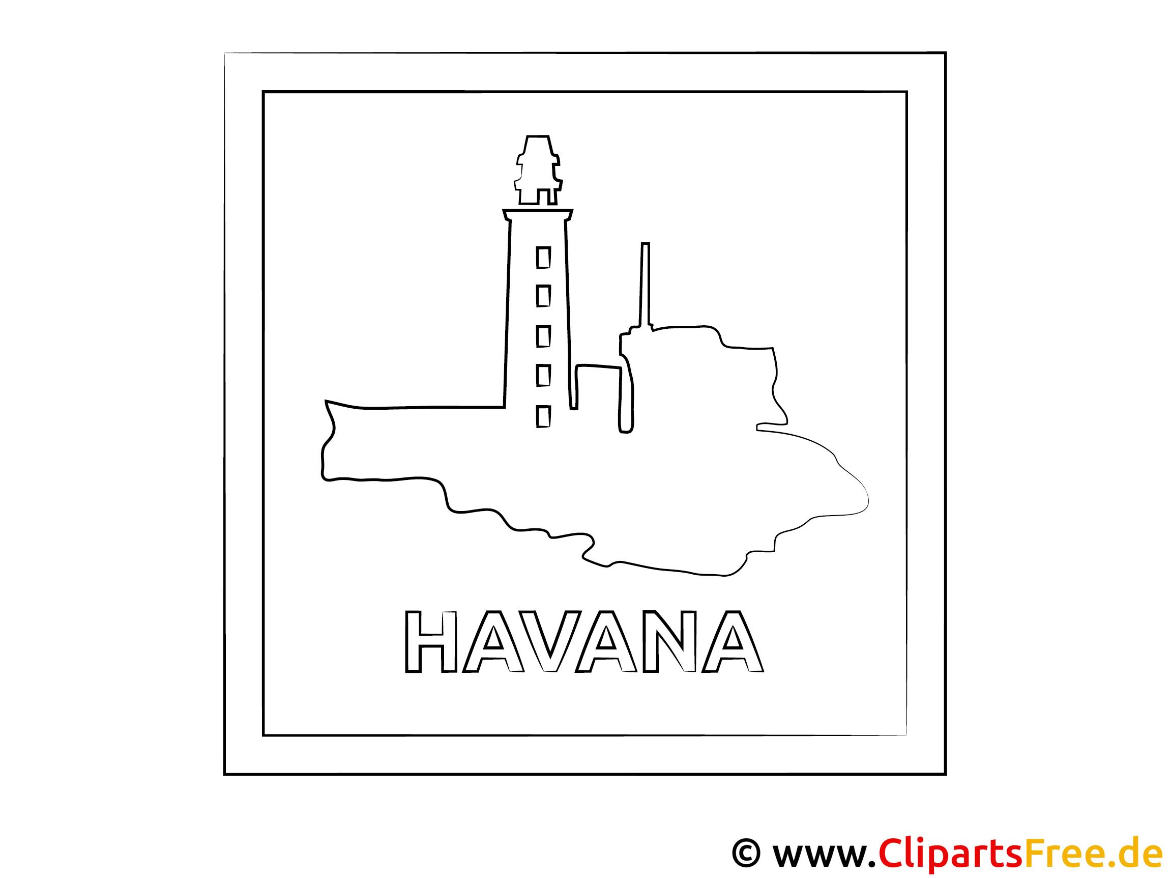 Kuba Reisen Ausmalbild zum Ausdrucken