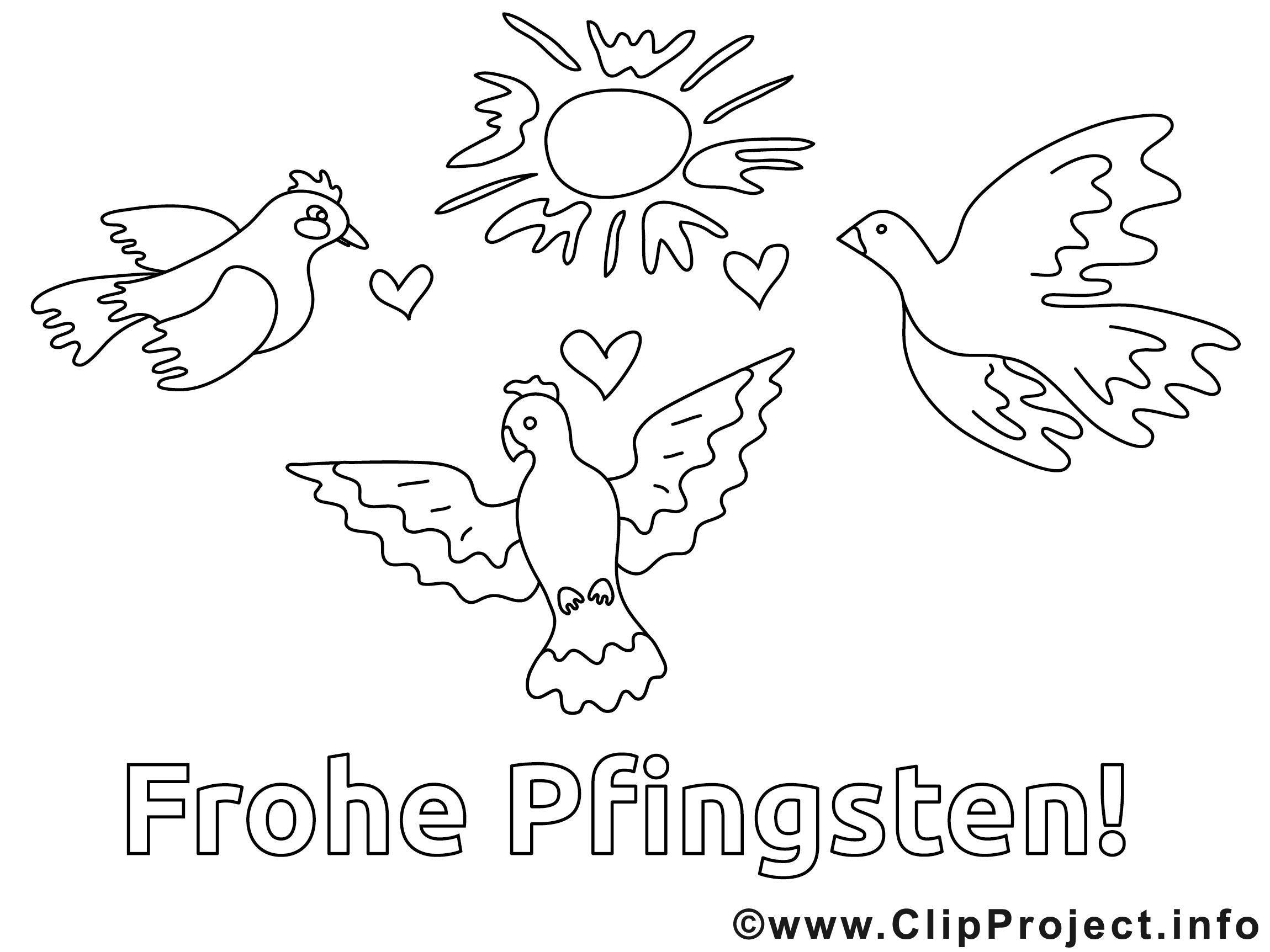 Frohe Pfingsten Ausmalbild für Kinder kostenlos ausdrucken