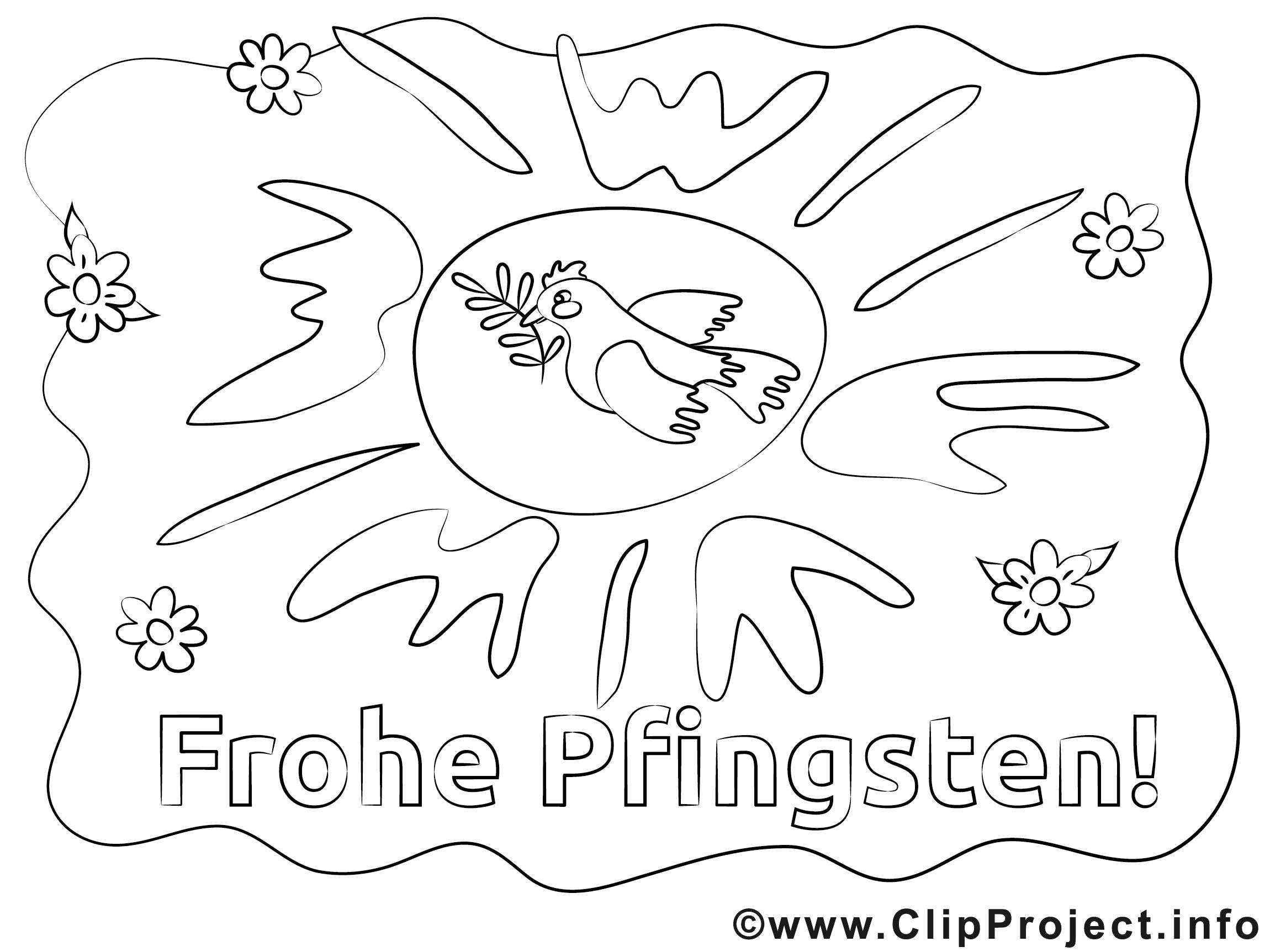 Frohe Pfingsten Ausmalbilder gratis für Kinder