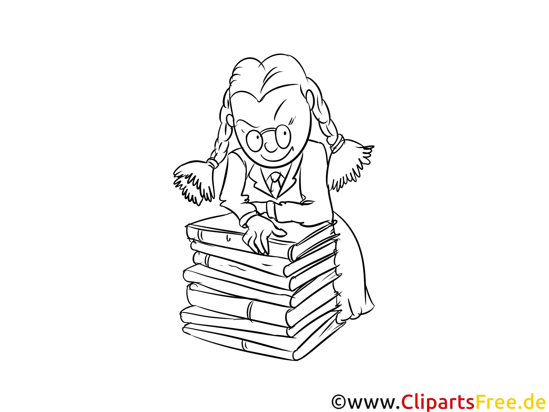 Schülerin mit Büchern Bild, Malvorlage, Ausmalbild kostenlos