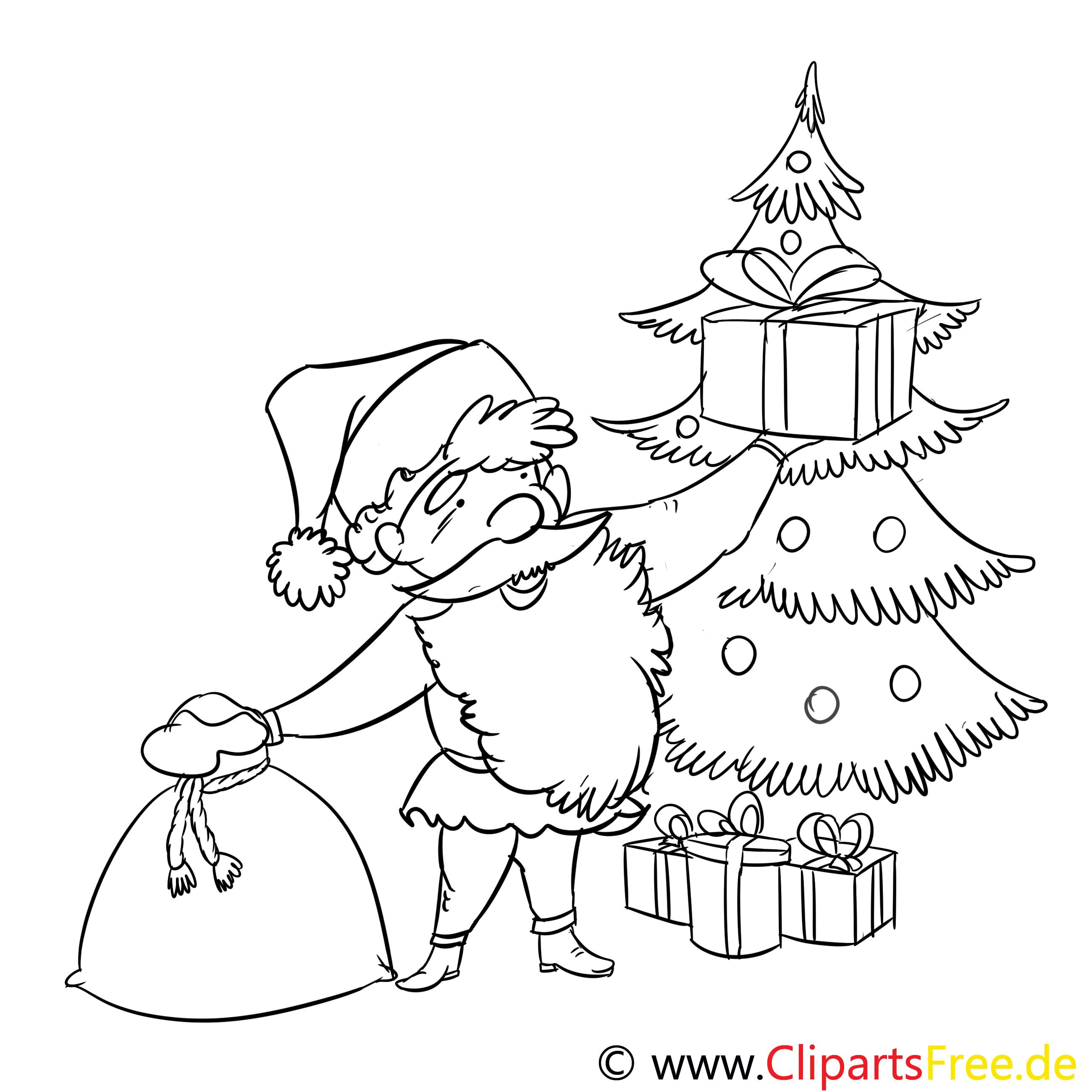 geschenk weihnachtsmannausmalbild malvorlage zum drucken
