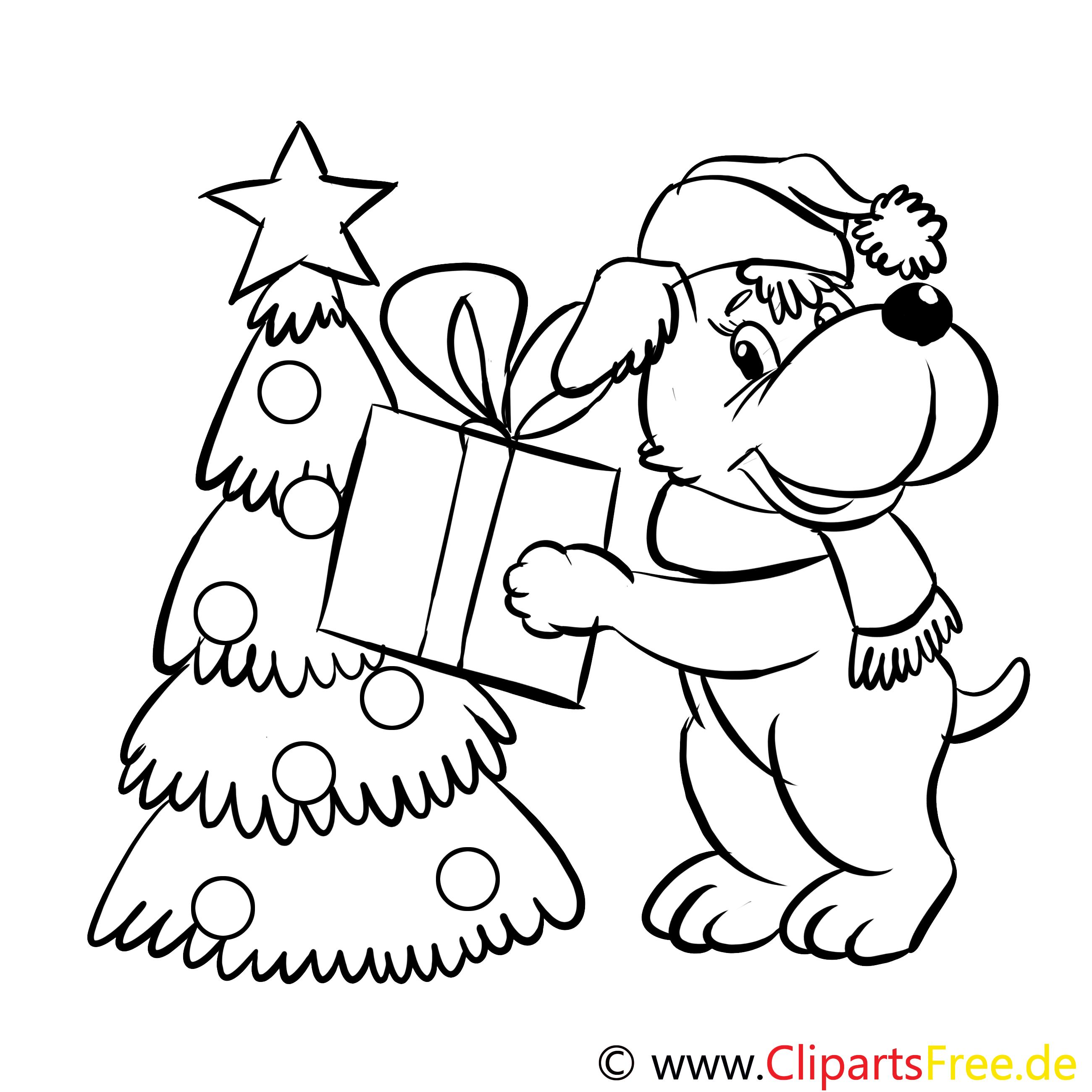 Hund Geschenk Ausmalbild, Malvorlage zum Drucken und Ausmalen