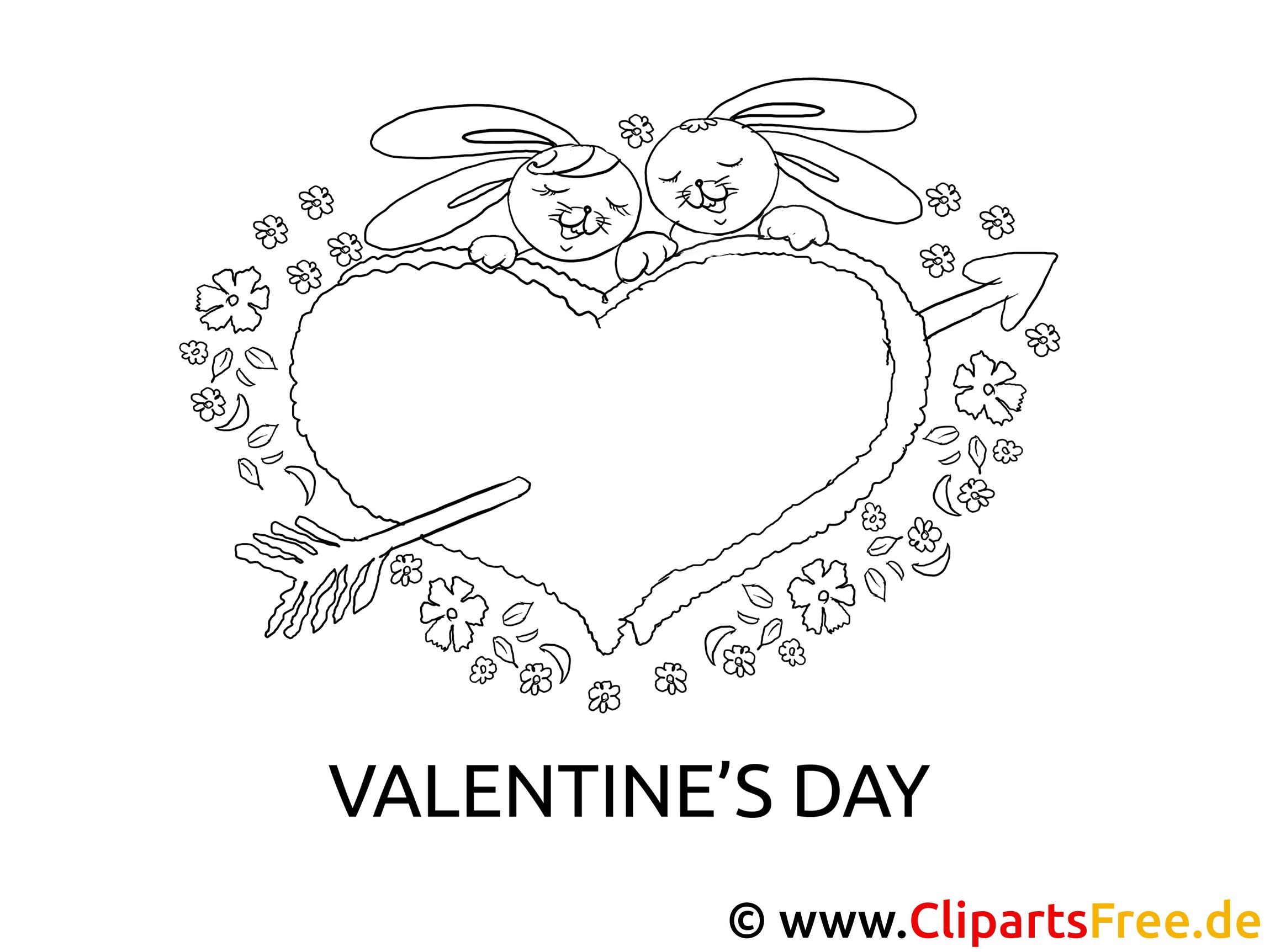 hasen herz valentinstag bild zum ausmalen