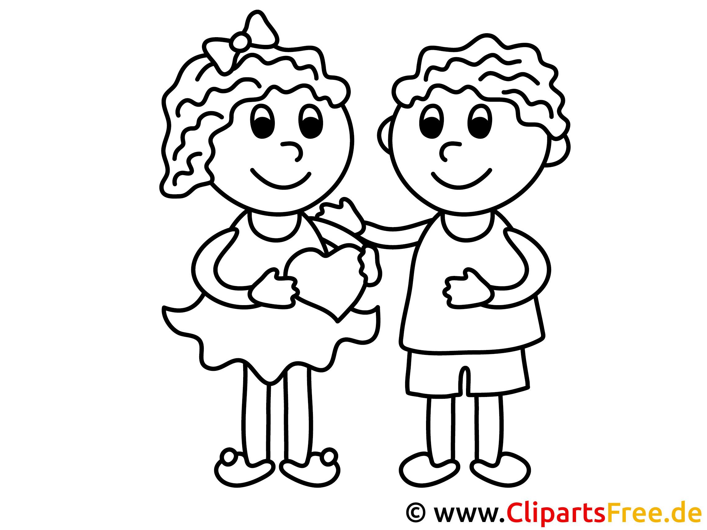 Mädchen und Junge Valentinstag Ausmalbilder für Kinder kostenlos ausdrucken