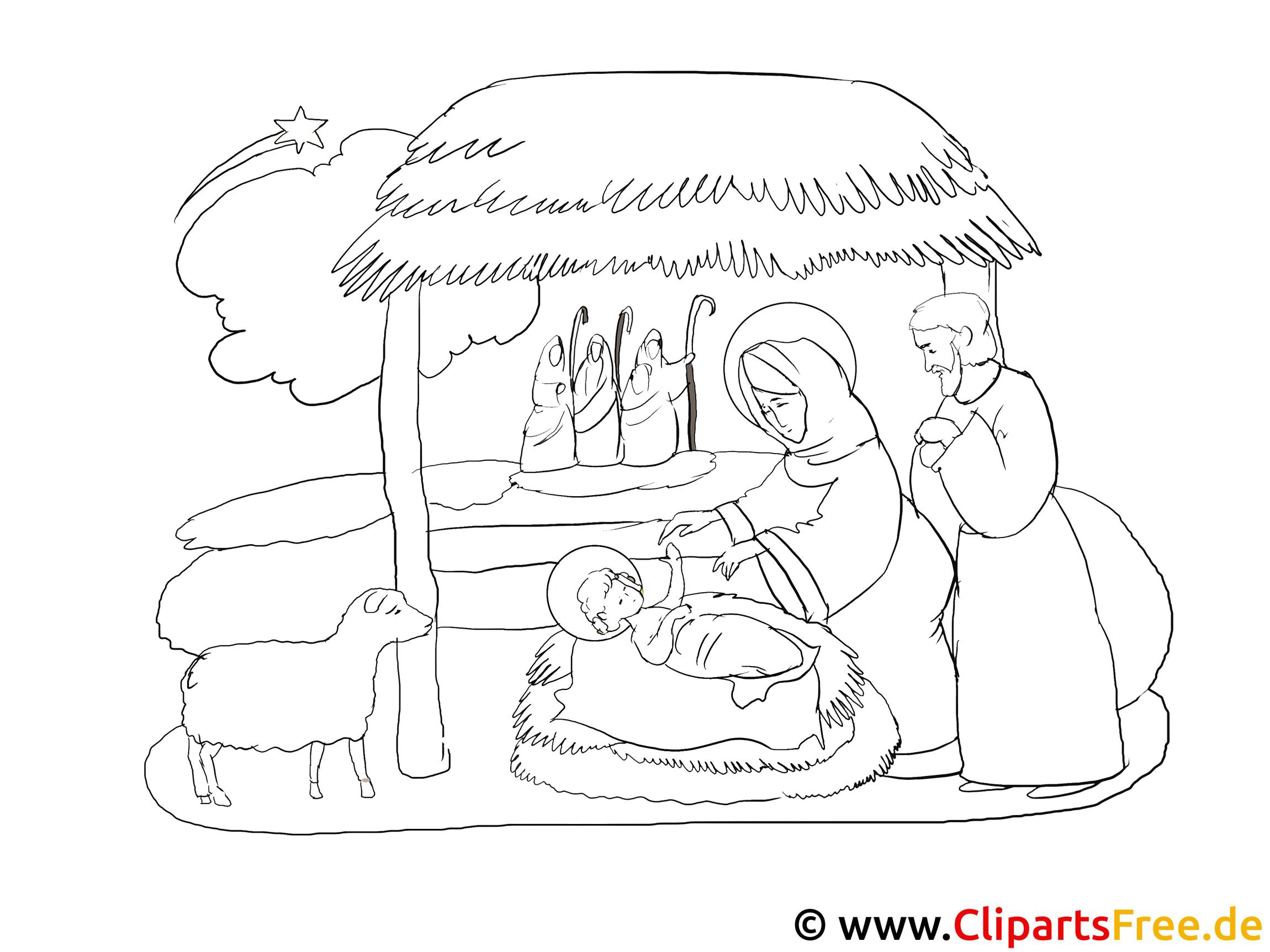 ausmalbilder zum advent weihnachtskrippe